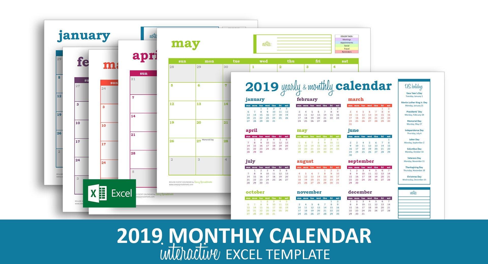 Deluxe Event Calendar 2019 Excel Template Printable | Etsy Calendar 2019 Excel Romania