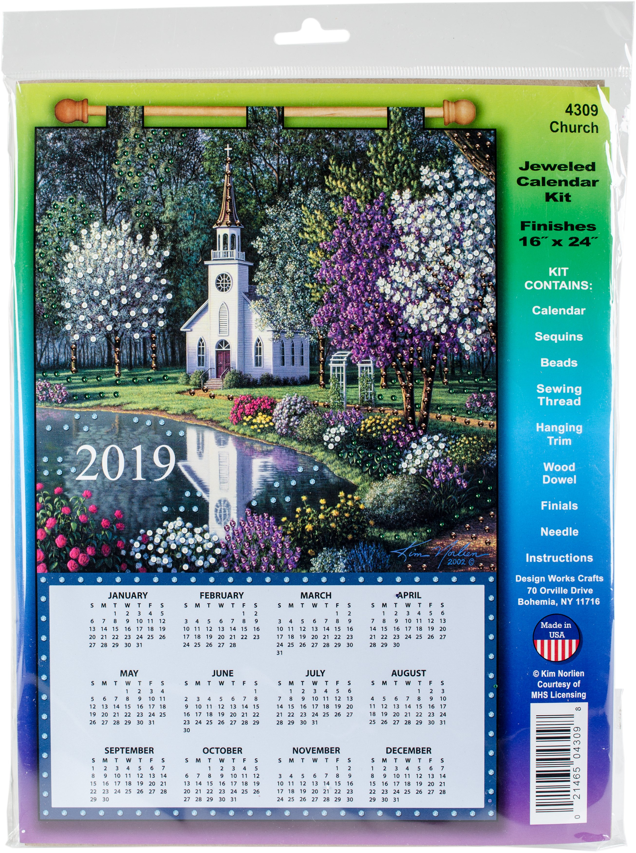 Design Works 2019 Calendar Felt Applique Kit-Church | Walmart Canada 544 Calendar 2019