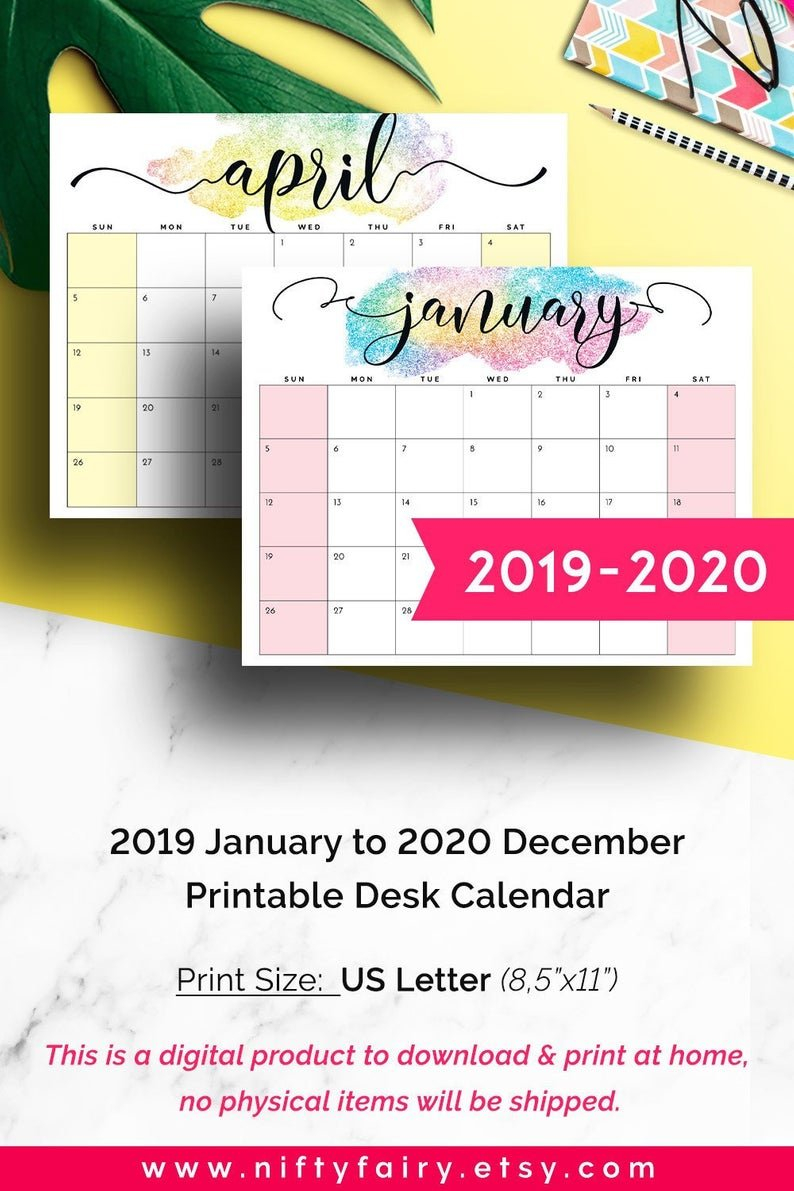 Desk Calendar 2019 Monthly Planner 2019 Wall Planner 2019 | Etsy Calendar 2019 Officemax