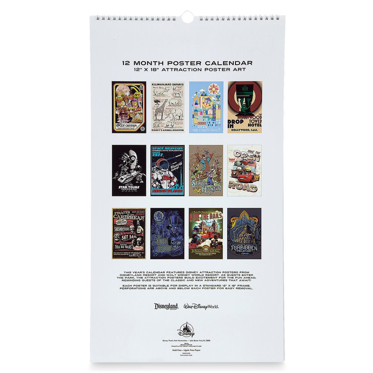 Disney Poster Calendar - 2019 Disney Parks Attraction Posters Calendar 2019 Disney