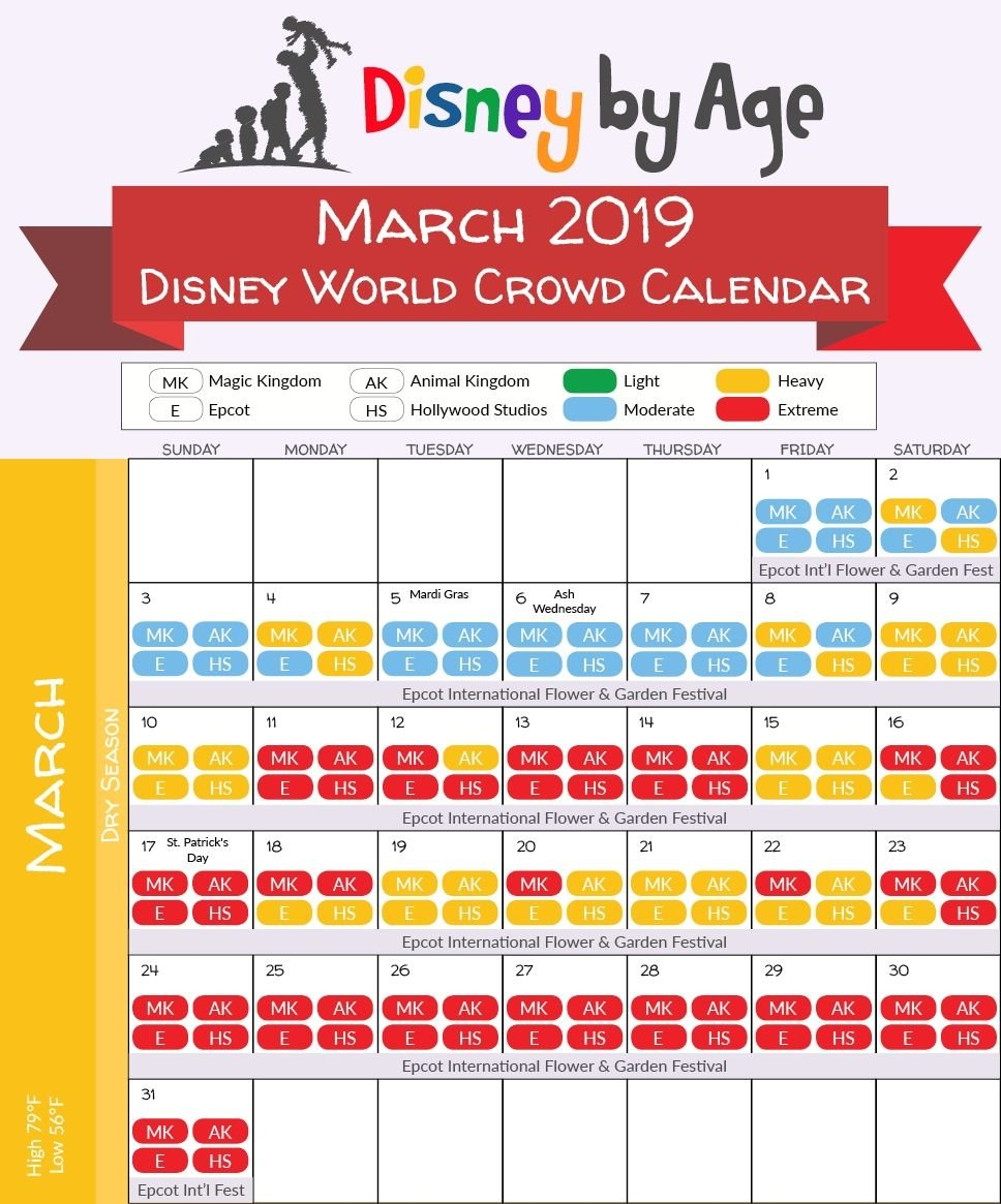 Disney World Crowd Calendar 2018 And 2019 | Disney In 2019 | Disney Calendar 2019 Disney