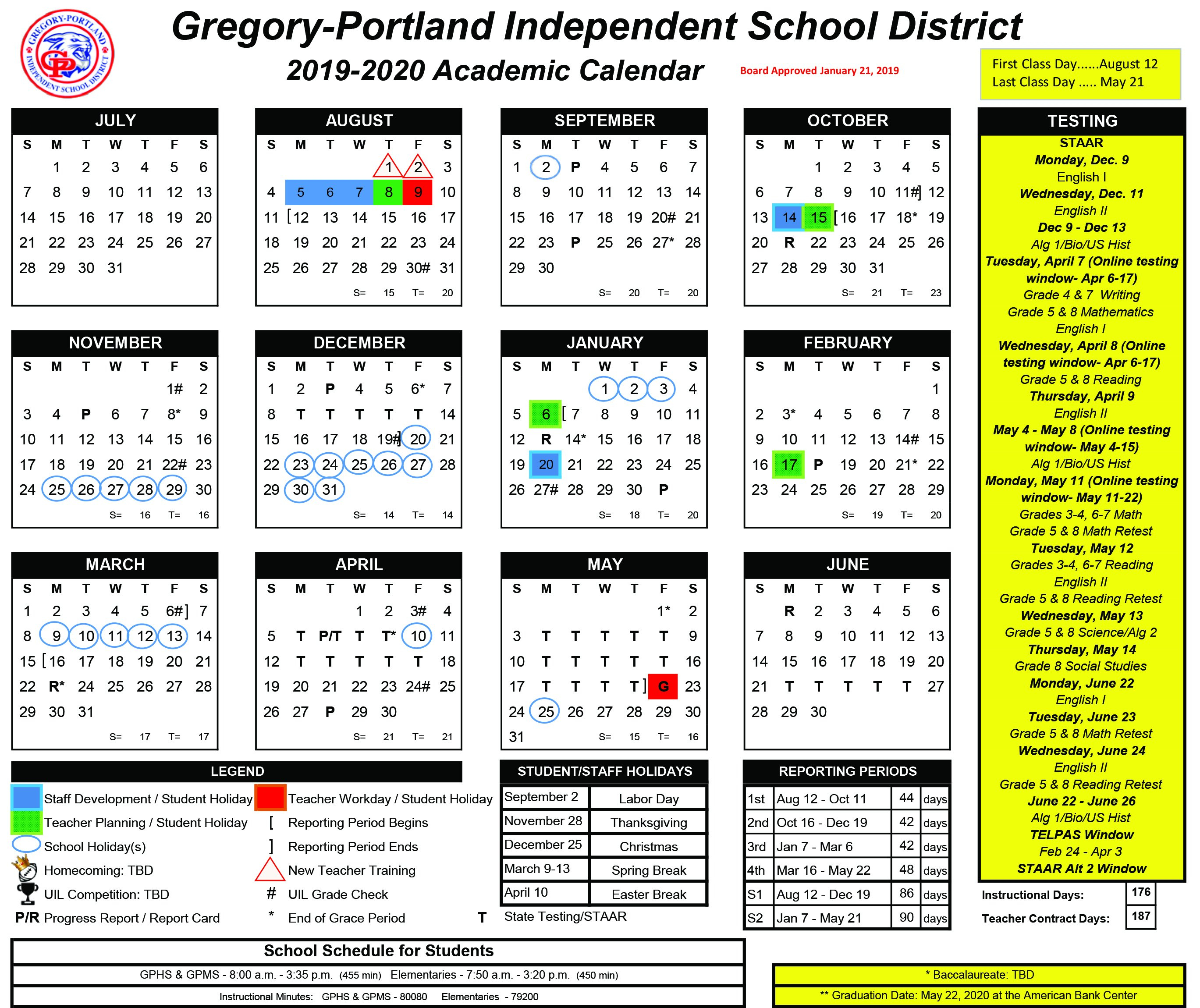 District Calendar, 2019-20 - Gregory-Portland Independent School G 2019 Calendar