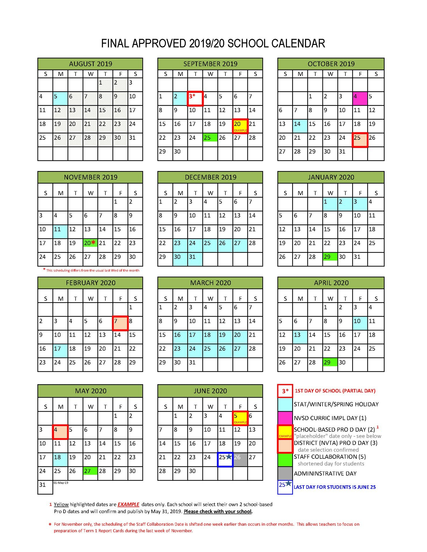 District Calendar - North Vancouver School District School District 2 Calendar 2019