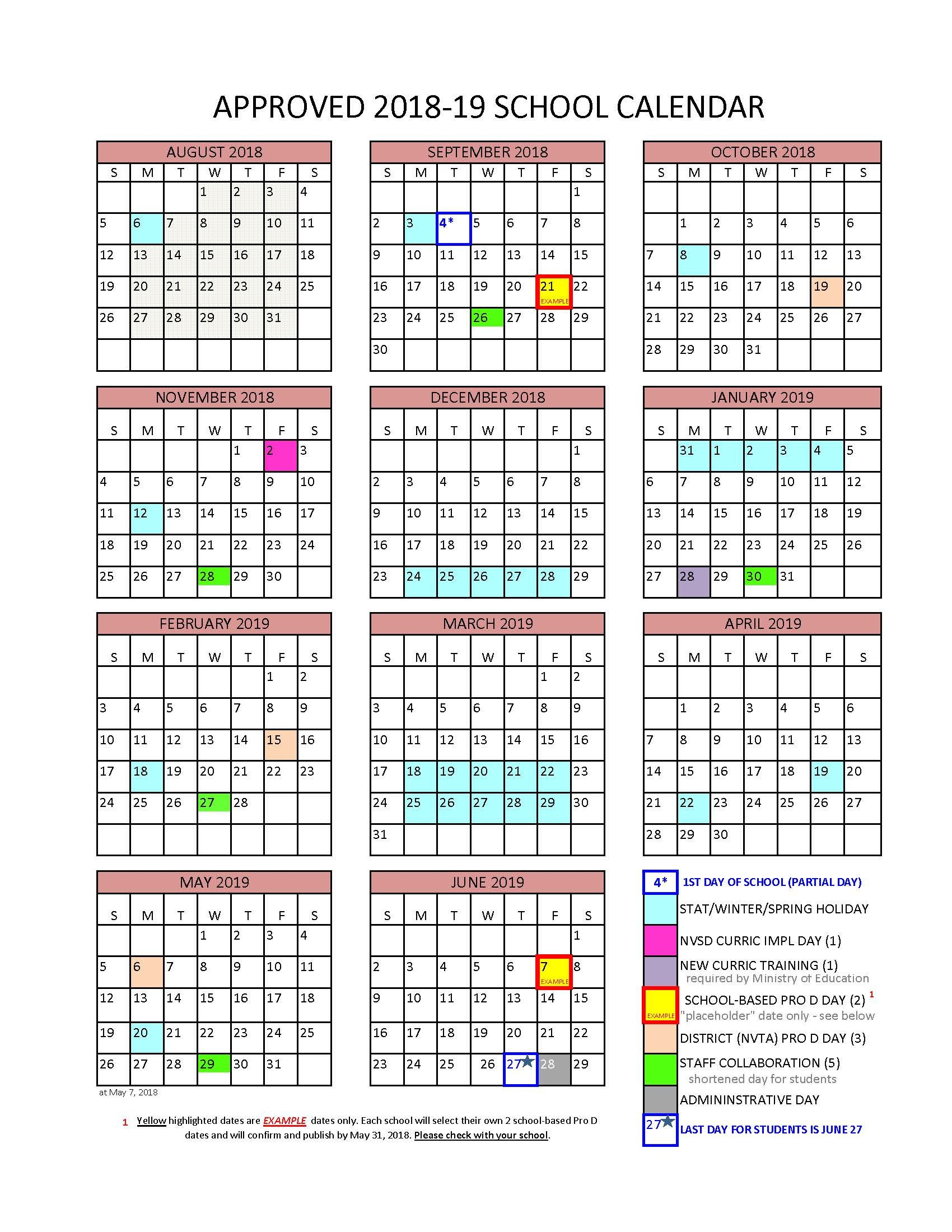 District Calendar - North Vancouver School District U Of T Calendar 2019