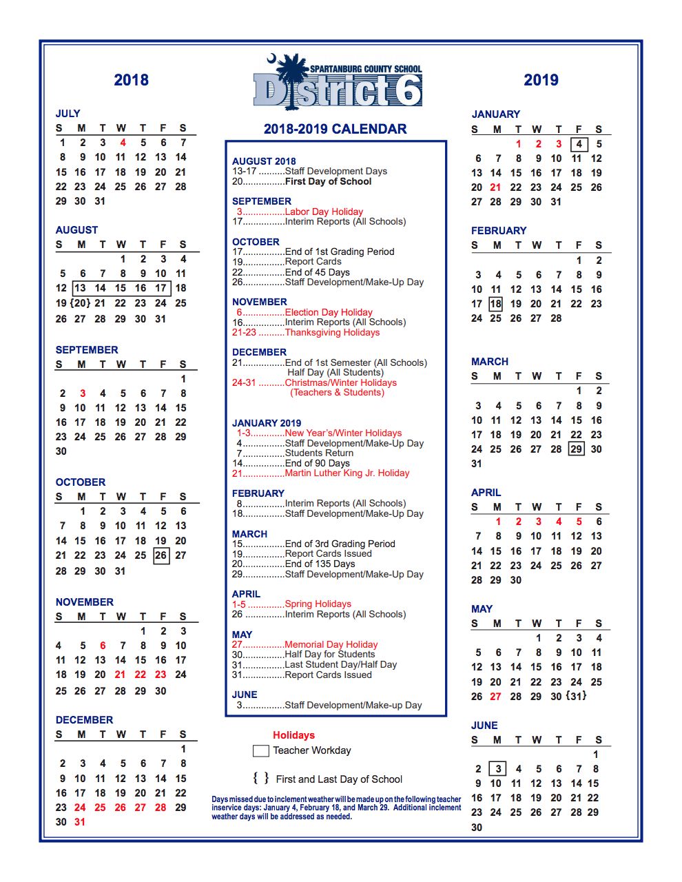 District Calendar – Parents – West View Elementary District 6 Calendar 2019