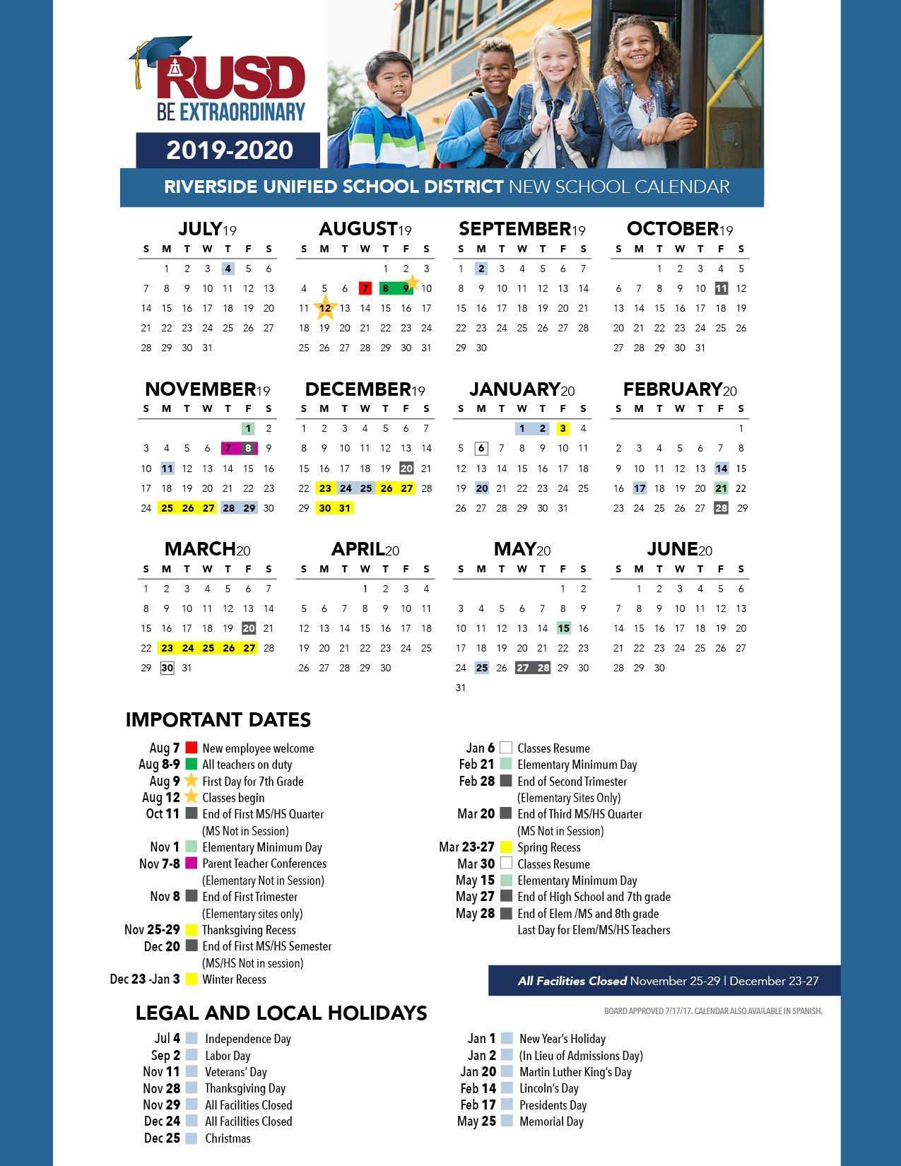 District Calendar - Riverside Unified School District Cal U Calendar 2019