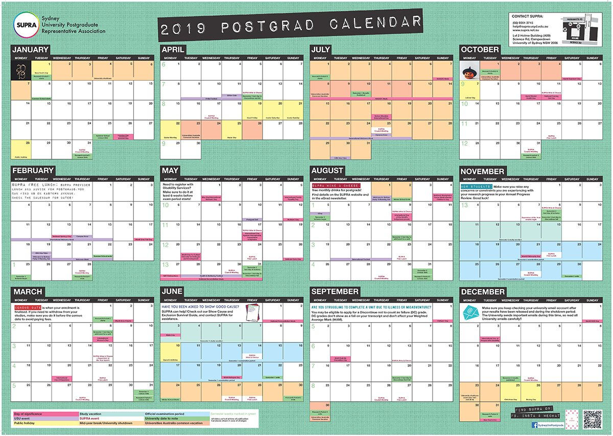 Don't Forget To Get Your 2019 Postgrad Wall Calendar! | Supra U Of T Calendar 2019