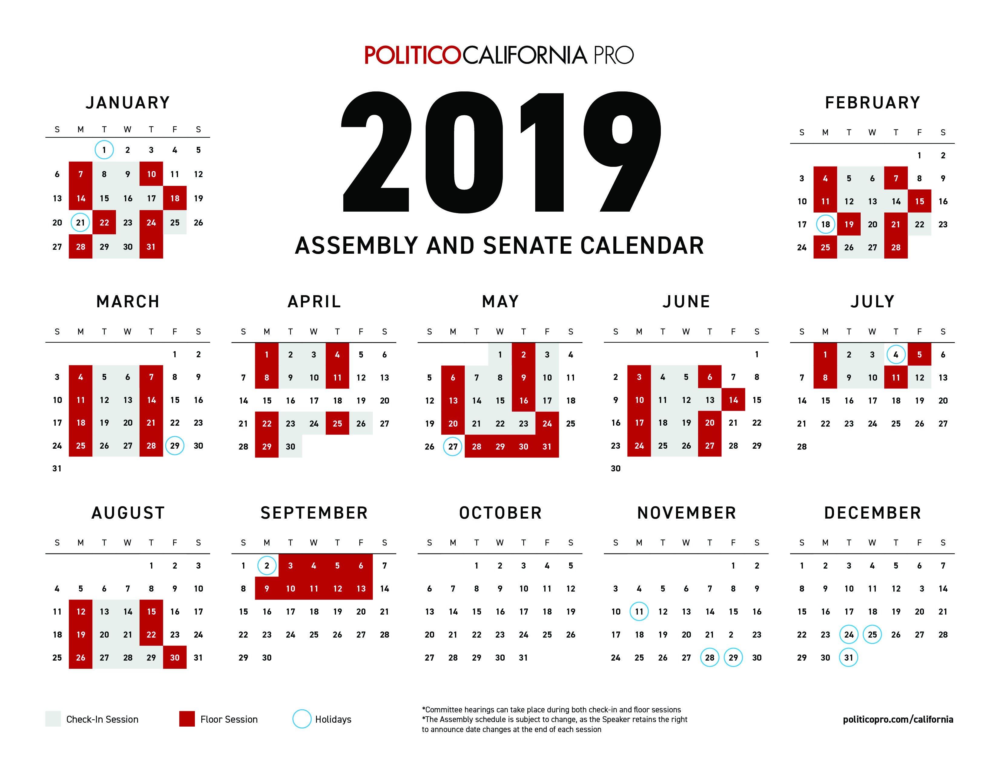 Download: 2019 Congressional Calendar | Politico Pro U.s. Senate Calendar 2019