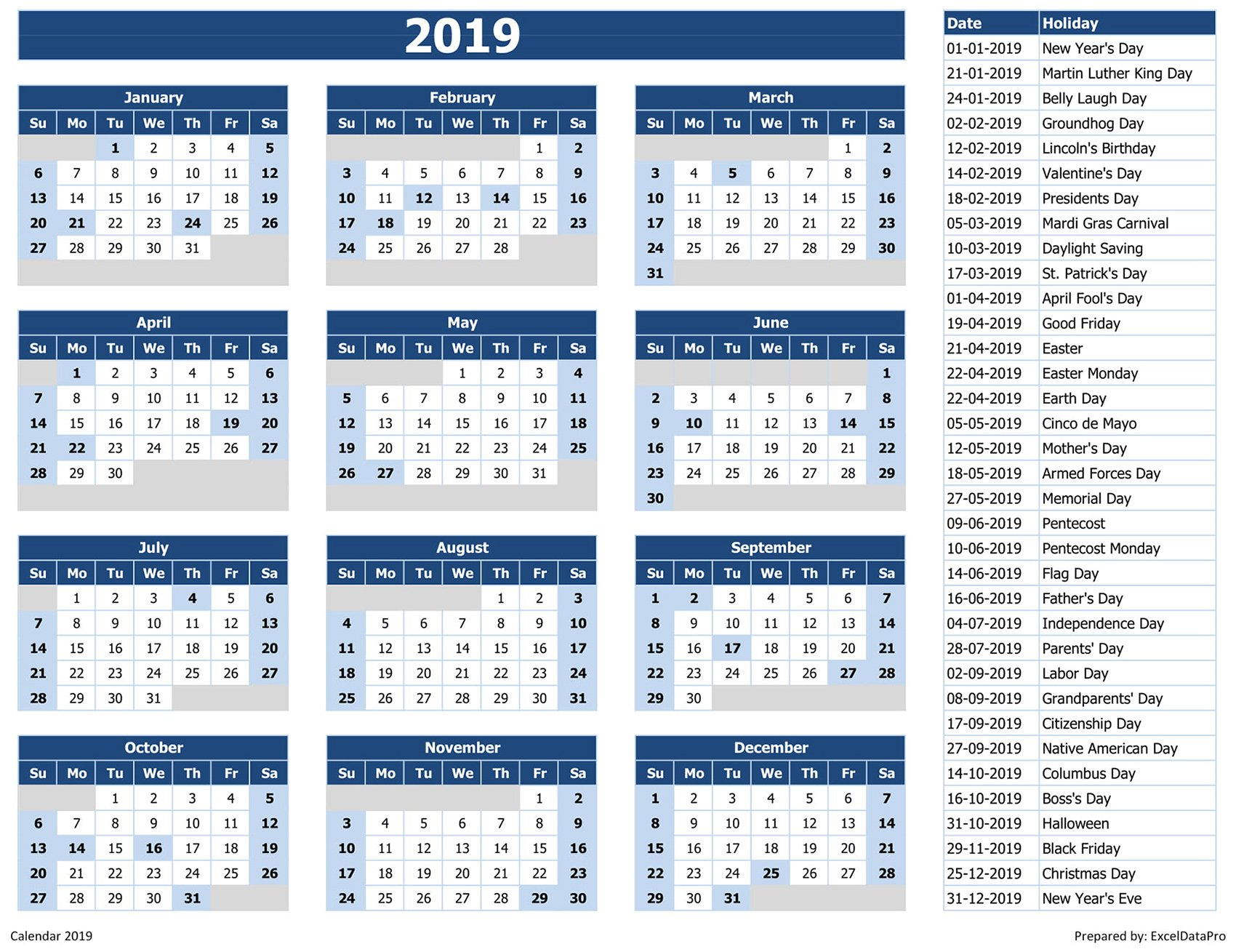 Download 2019 Yearly Calendar (Sun Start) Excel Template - Exceldatapro Calendar 2019 List
