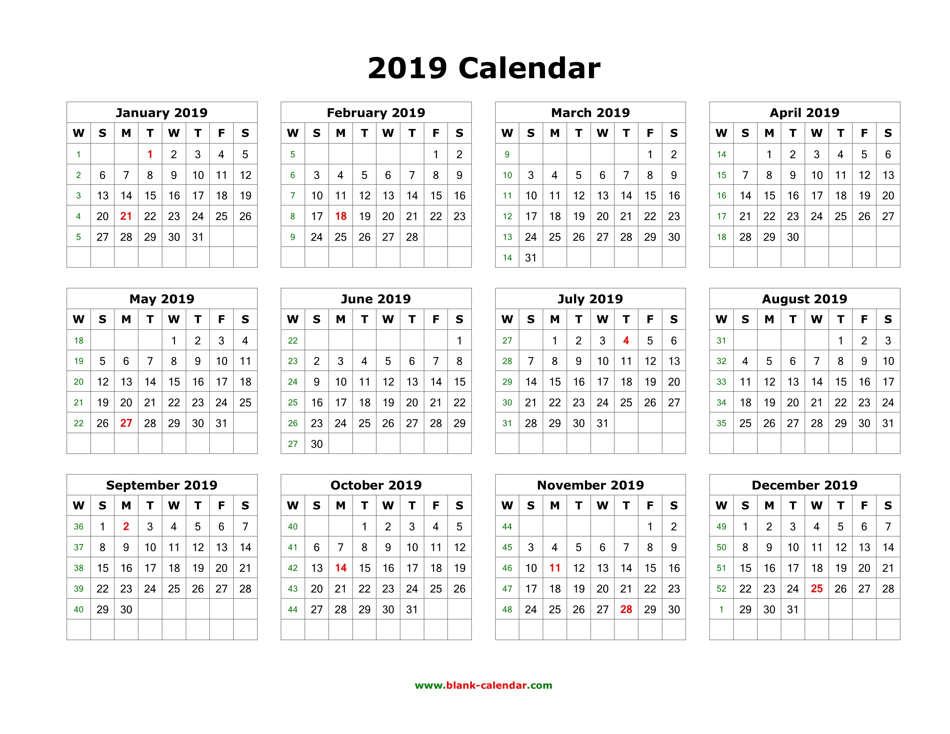 Download Blank Calendar 2019 (12 Months On One Page, Horizontal) Calendar 2019 Horizontal