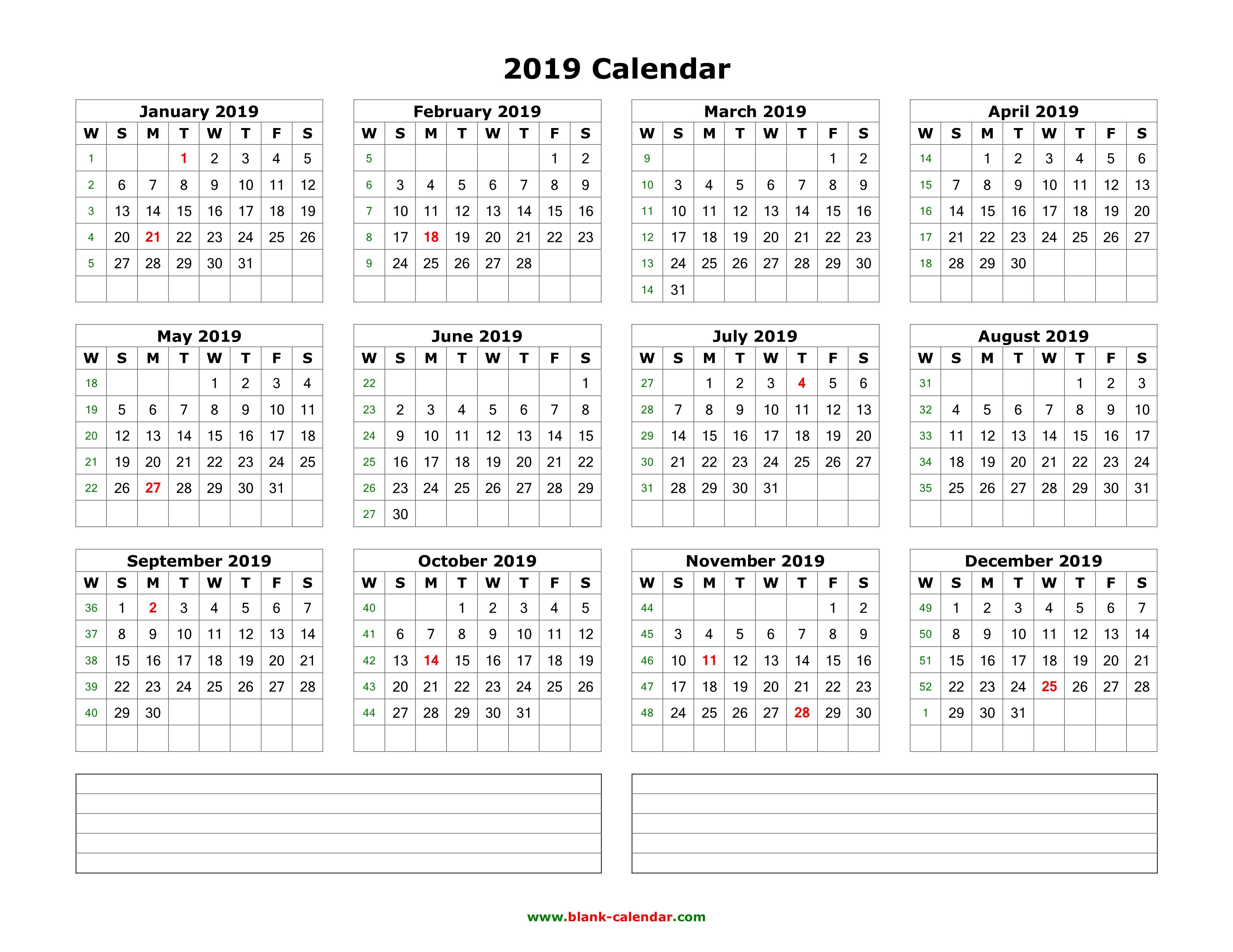 Download Blank Calendar 2019 With Space For Notes (12 Months On One Calendar 2019 Landscape