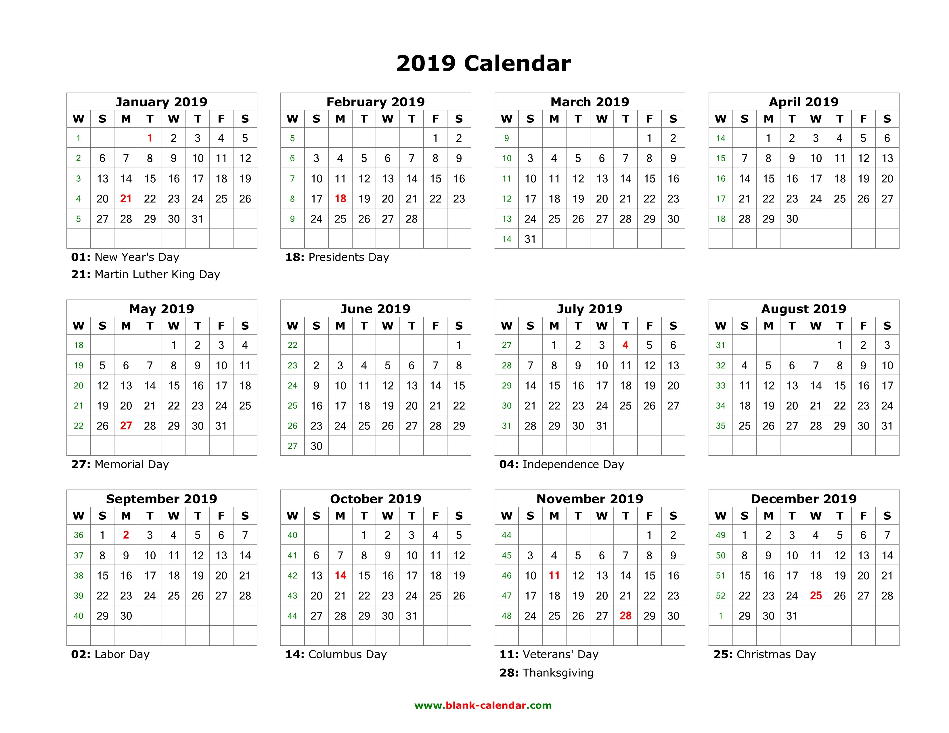 Download Blank Calendar 2019 With Us Holidays (12 Months On One Page Calendar 2019 Year To A Page