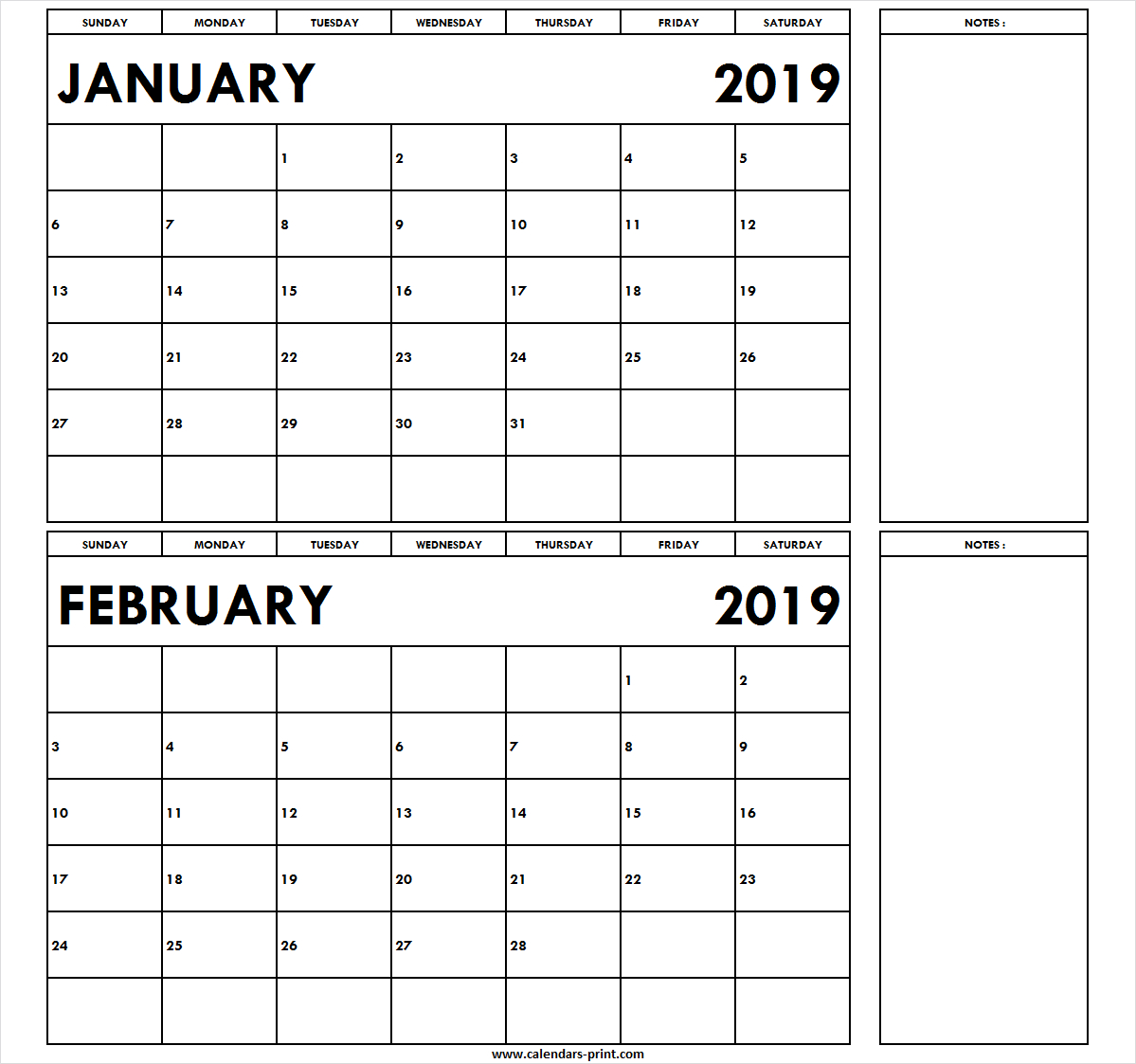 Download Free Templates | January February 2019 Calendar Template Calendar 2019 Jan Feb