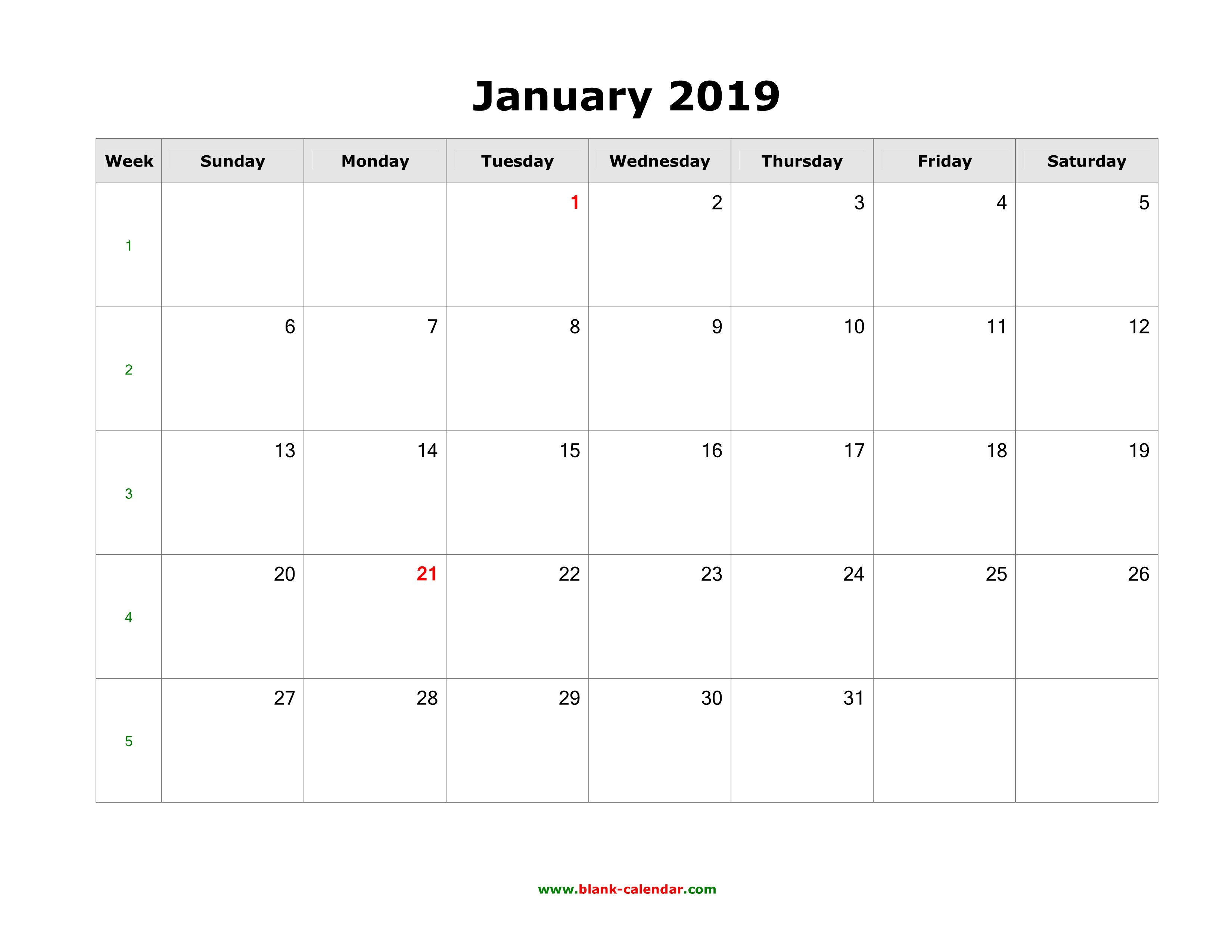 Download January 2019 Blank Calendar (Horizontal) Calendar 2019 Horizontal