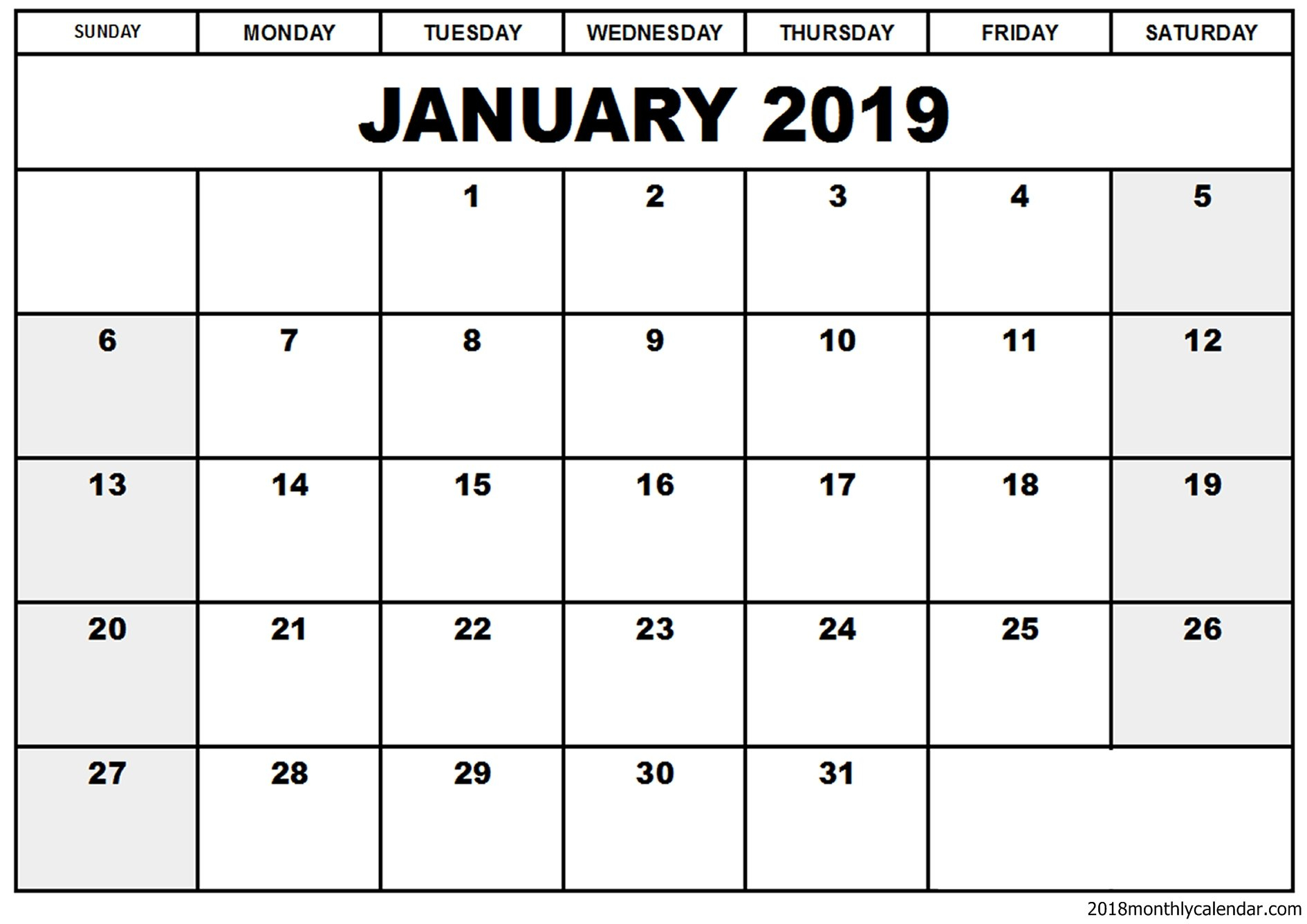 Download January 2019 Calendar – Blank & Editable Calendar 2019 Editable