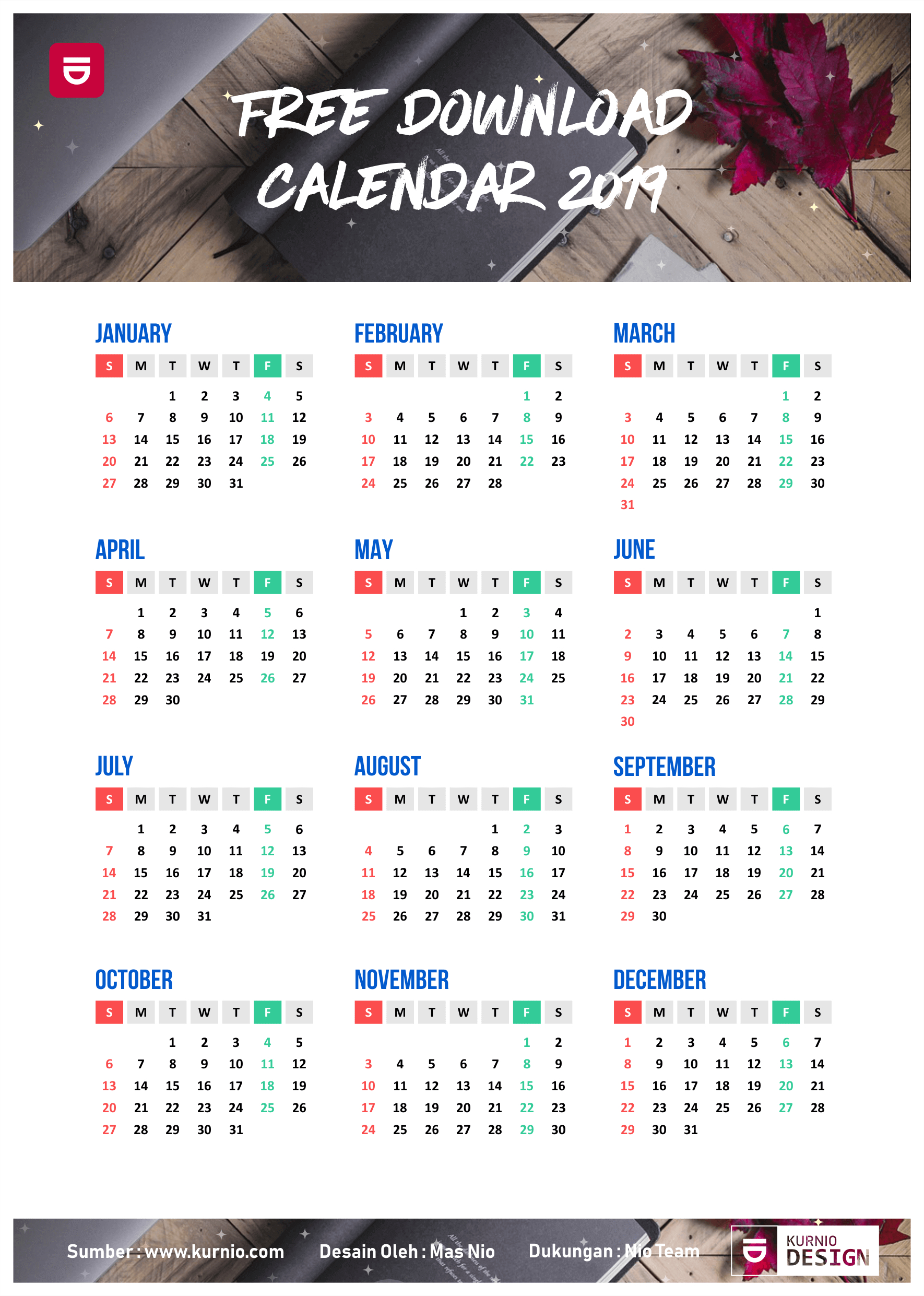 Download Template Calendar 2019 Vector Cdr Ai Psd | Download Calendar 2019 Template Psd