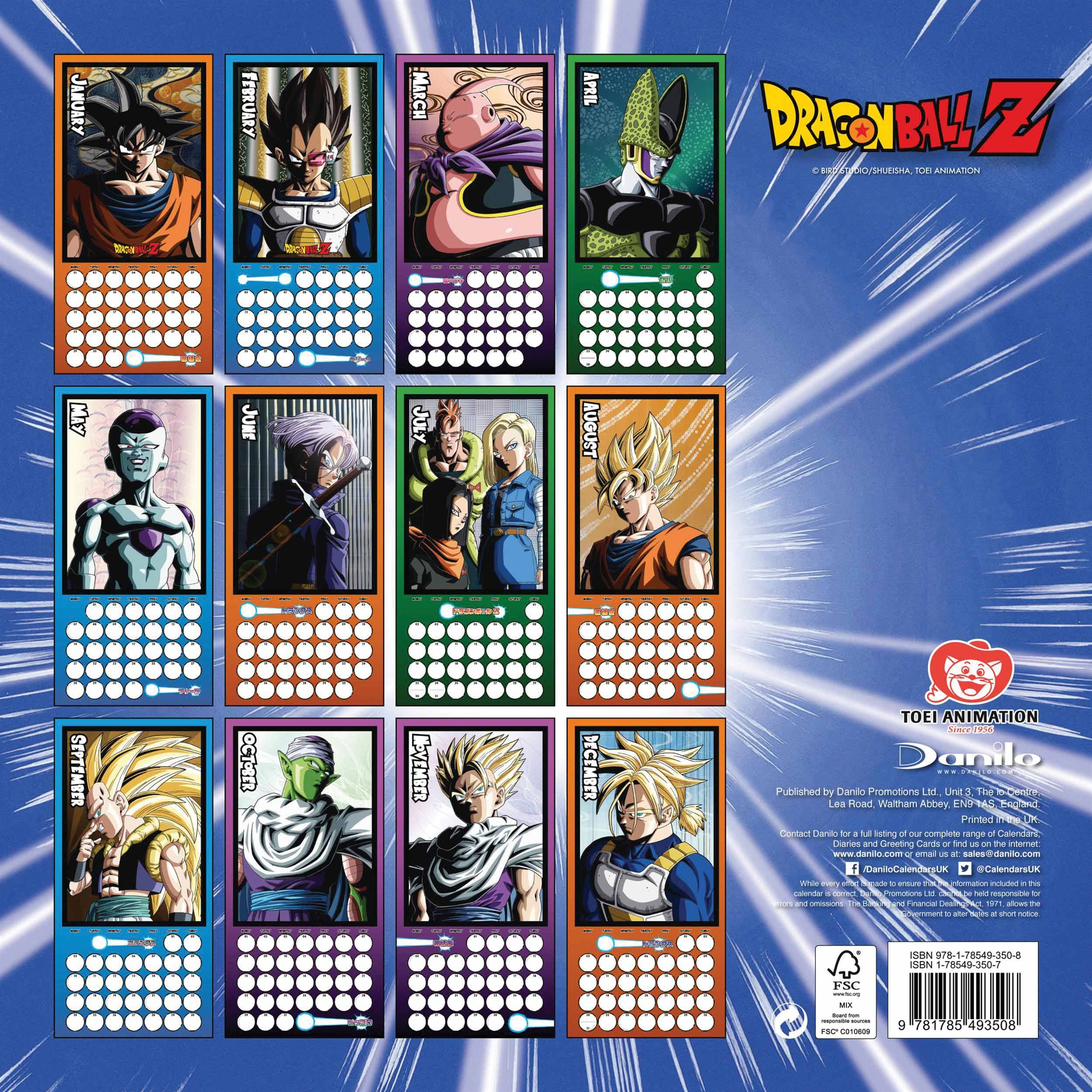 Dragon Ball Z Official Wall Calendar 2018 - Square Format, 2018 Wall Dragon Ball Z Calendar 2019