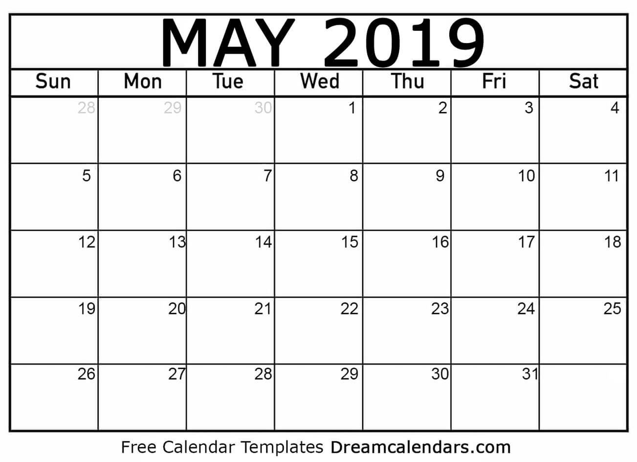 Dream Calendars – Make Your Calendar Template Blog: Blank Printable Calendar 2019 Blog