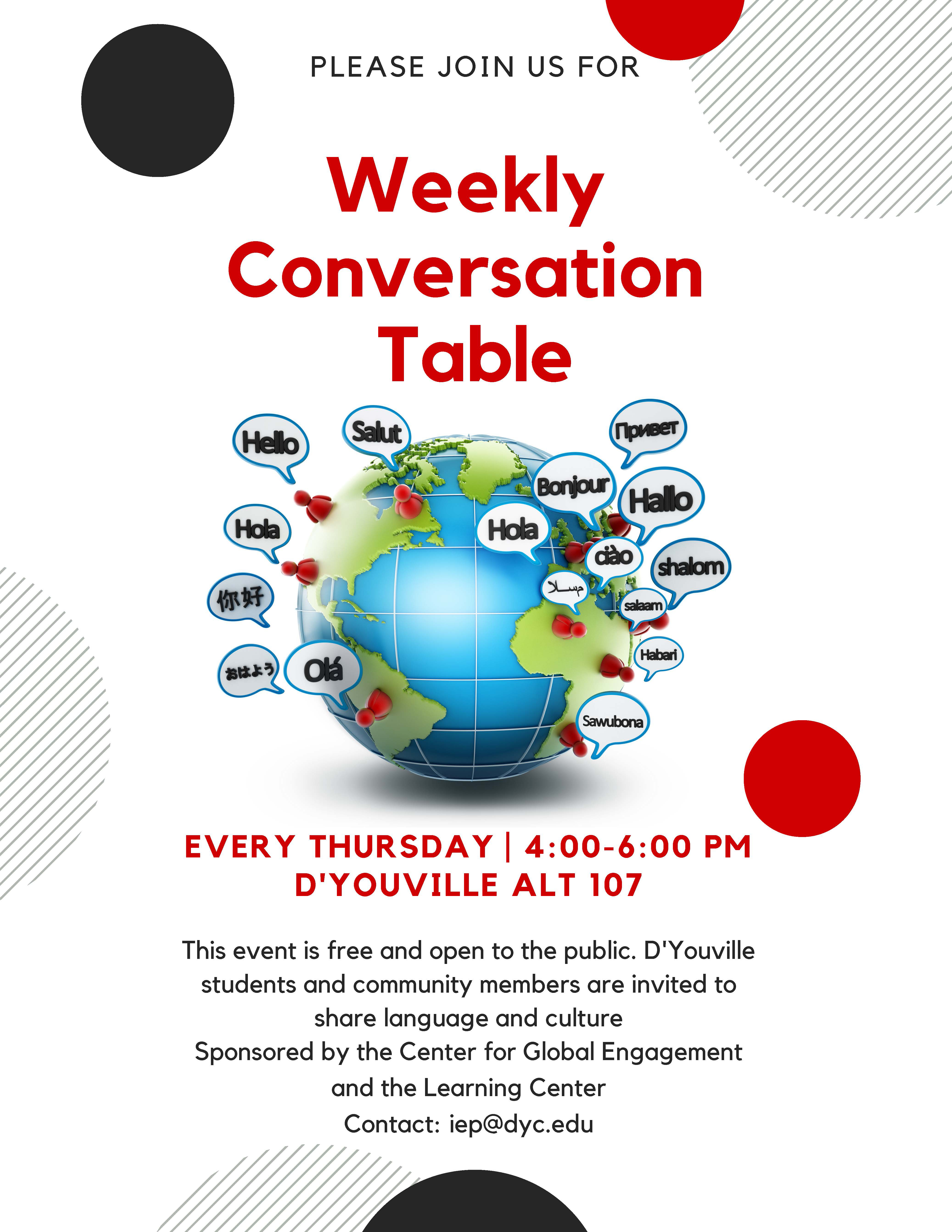 D'youville Events Calendar - Weekly Conversation Table D'youville Calendar 2019