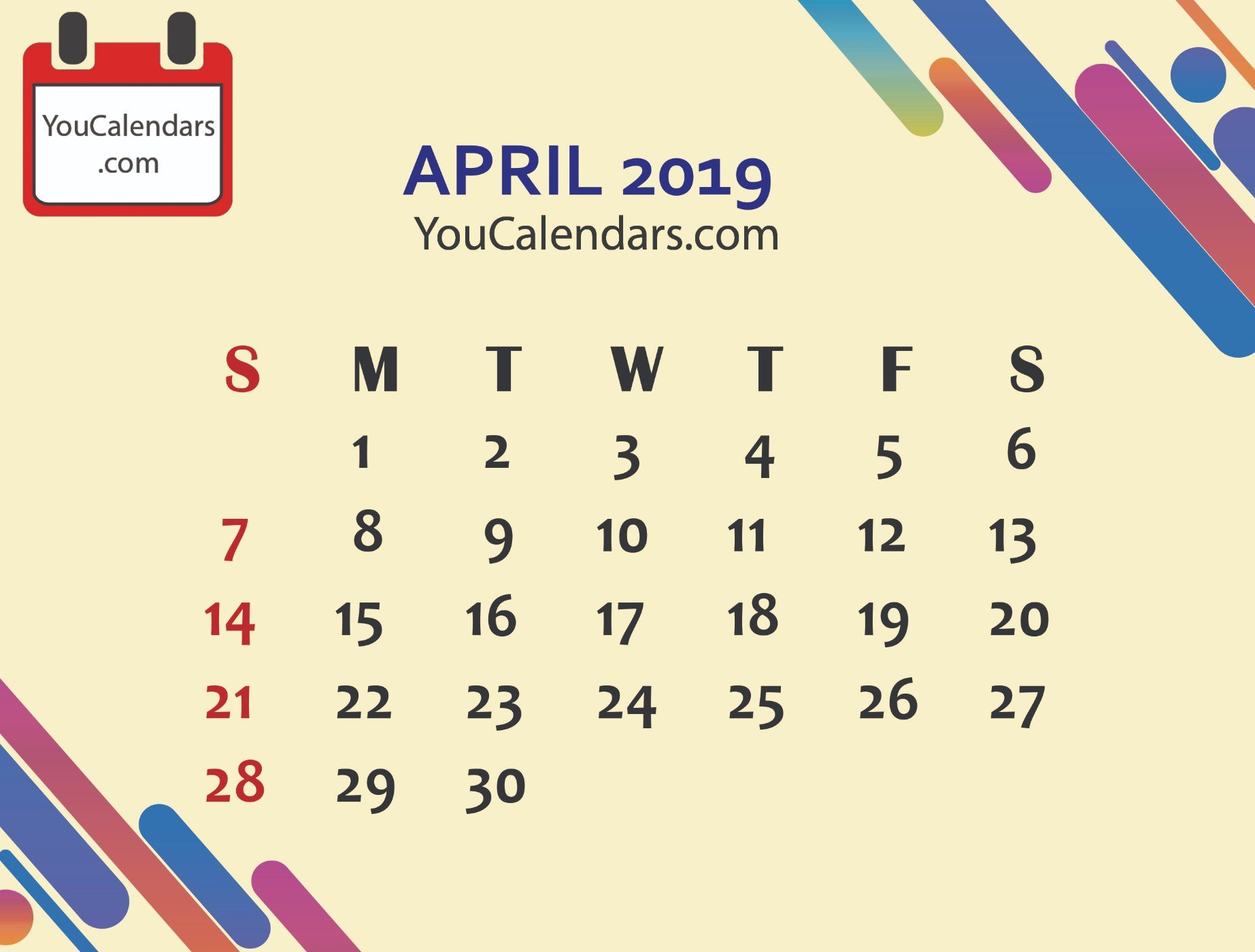 ✅Free April 2019 Calendar Printable Template - You Calendars April 7 2019 Calendar