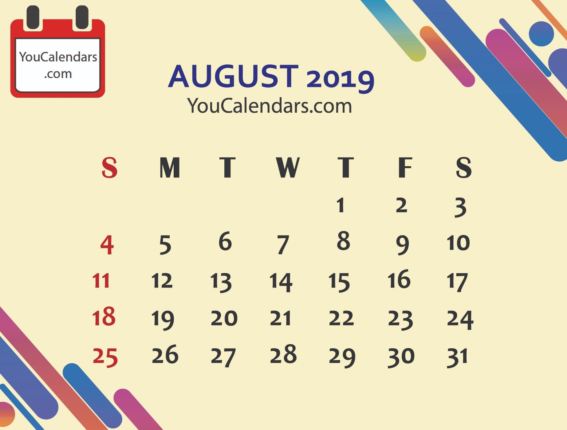 ✅Free August 2019 Calendar Printable Template - You Calendars August 9 2019 Calendar