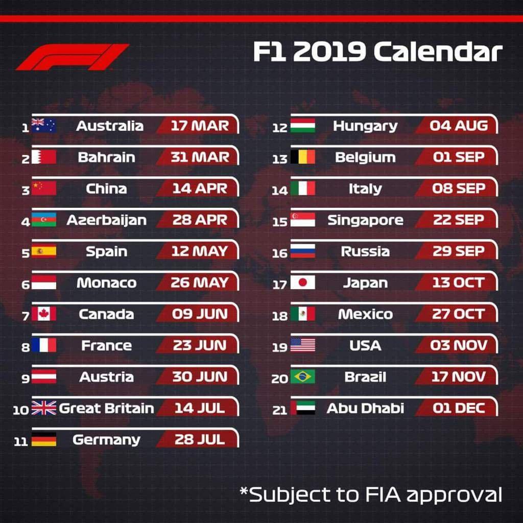 ✨2019 F1 Calendar✨ | Formula 1 Amino Formula 3 Calendar 2019