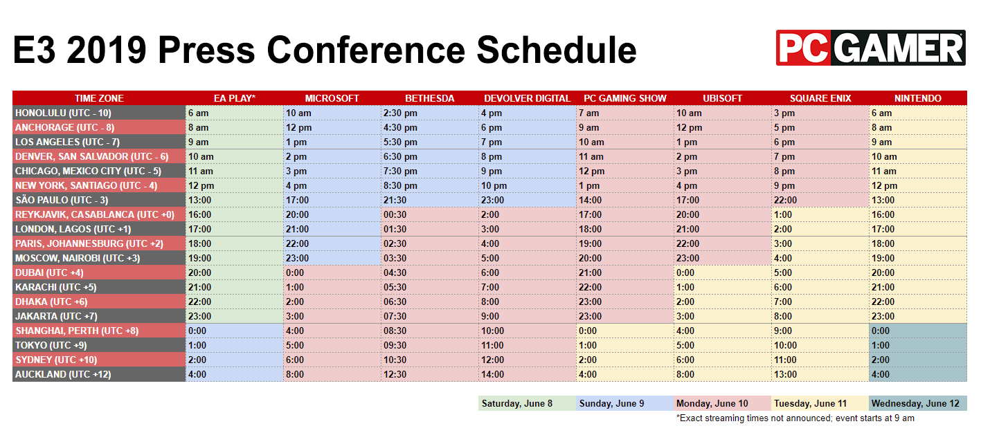E3 2019 Schedule - Every Press Conference Livestream Date And Time 4J Calendar 2019