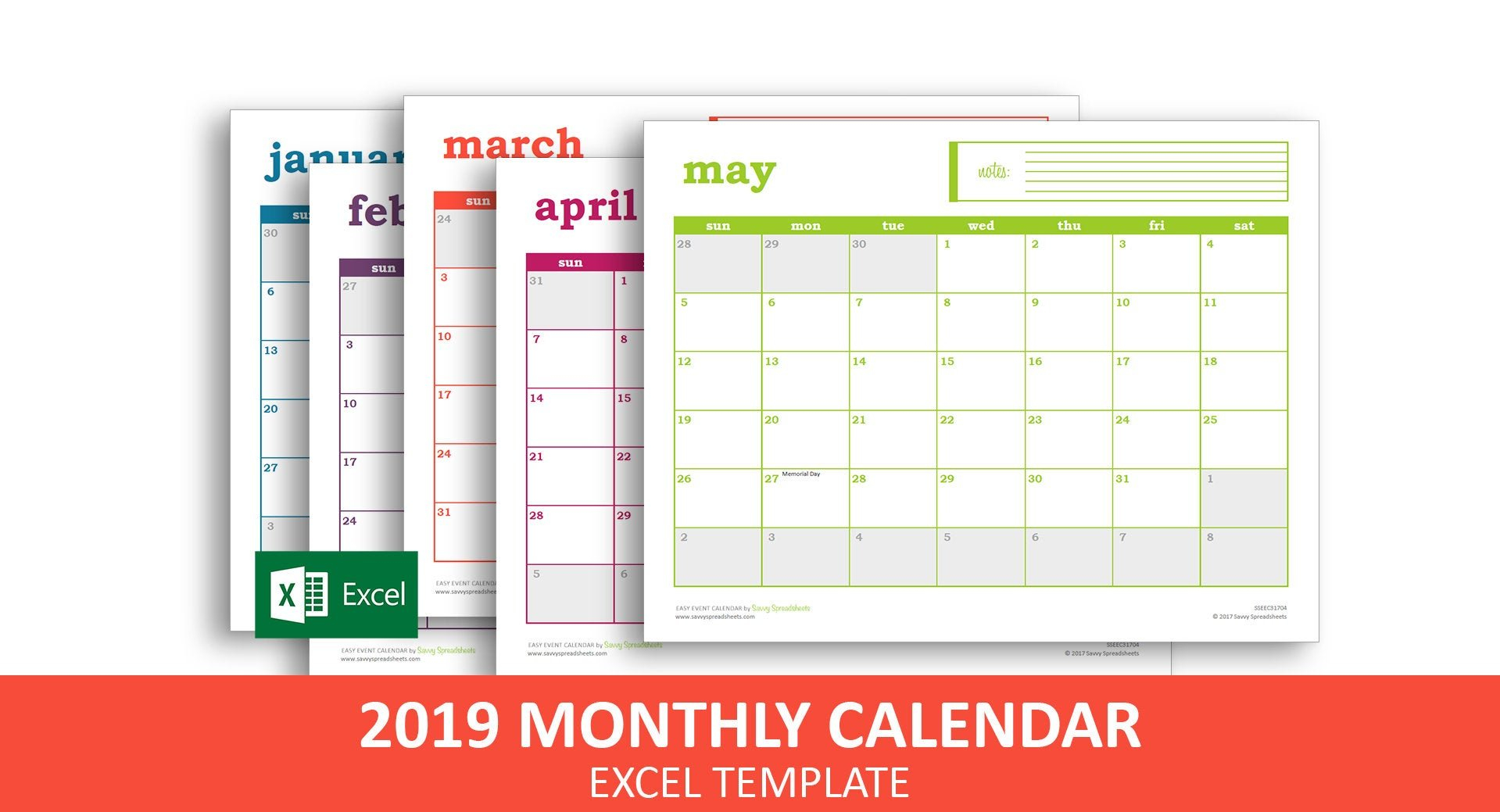 Easy Event Calendar 2019 Excel Template Printable Monthly | Etsy Calendar 2019 Excel Romania