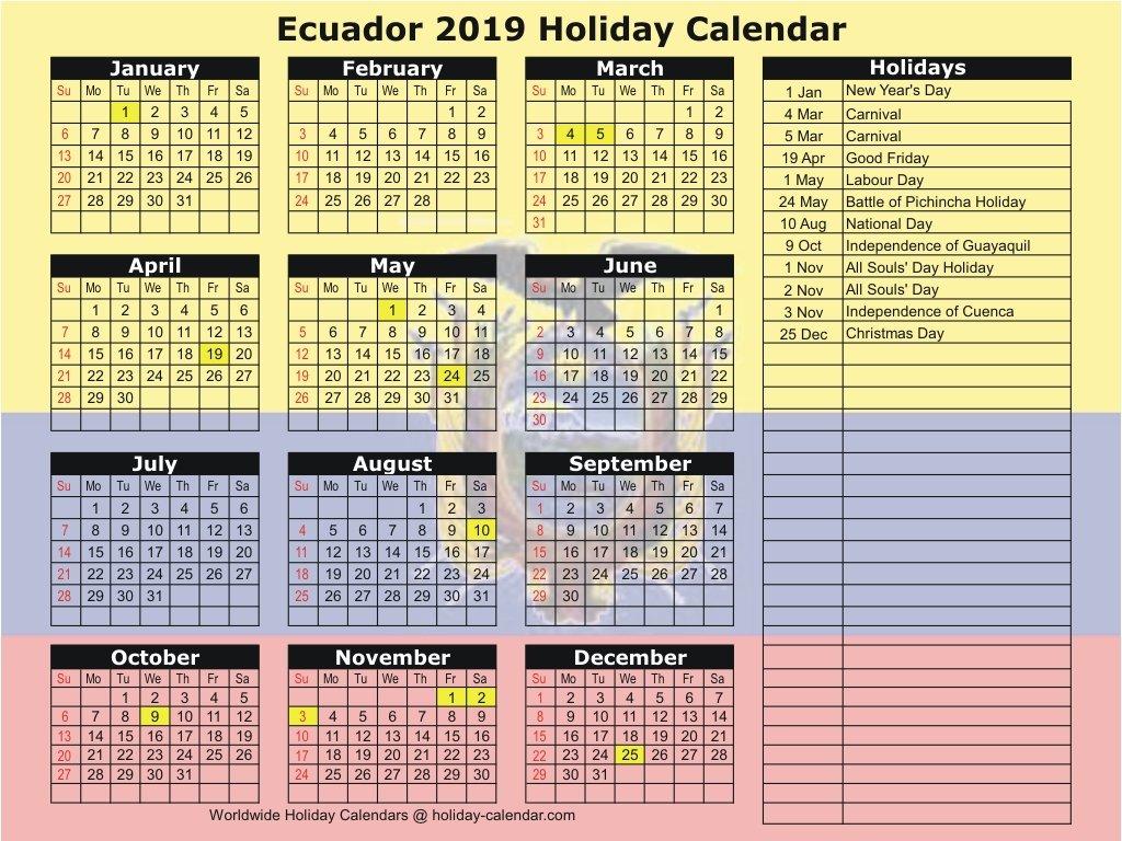 Ecuador 2019 / 2020 Holiday Calendar Calendar 2019 Ecuador