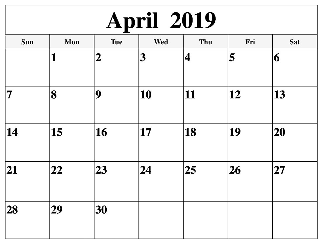 Editable April 2019 Calendar Word - Printable Calendar 2019| Blank Calendar 2019 April Printable