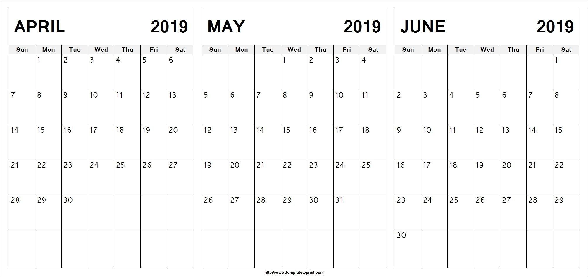 Editable April May June 2019 Calendar #april #may #june Calendar 2019 May June July