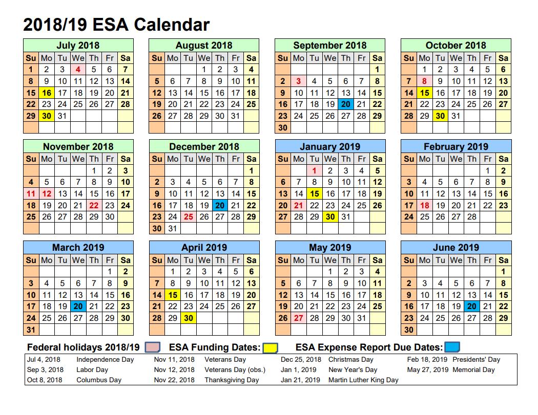 Empowerment Scholarship Account Program - Arizona Department Of Calendar 2019 Dates