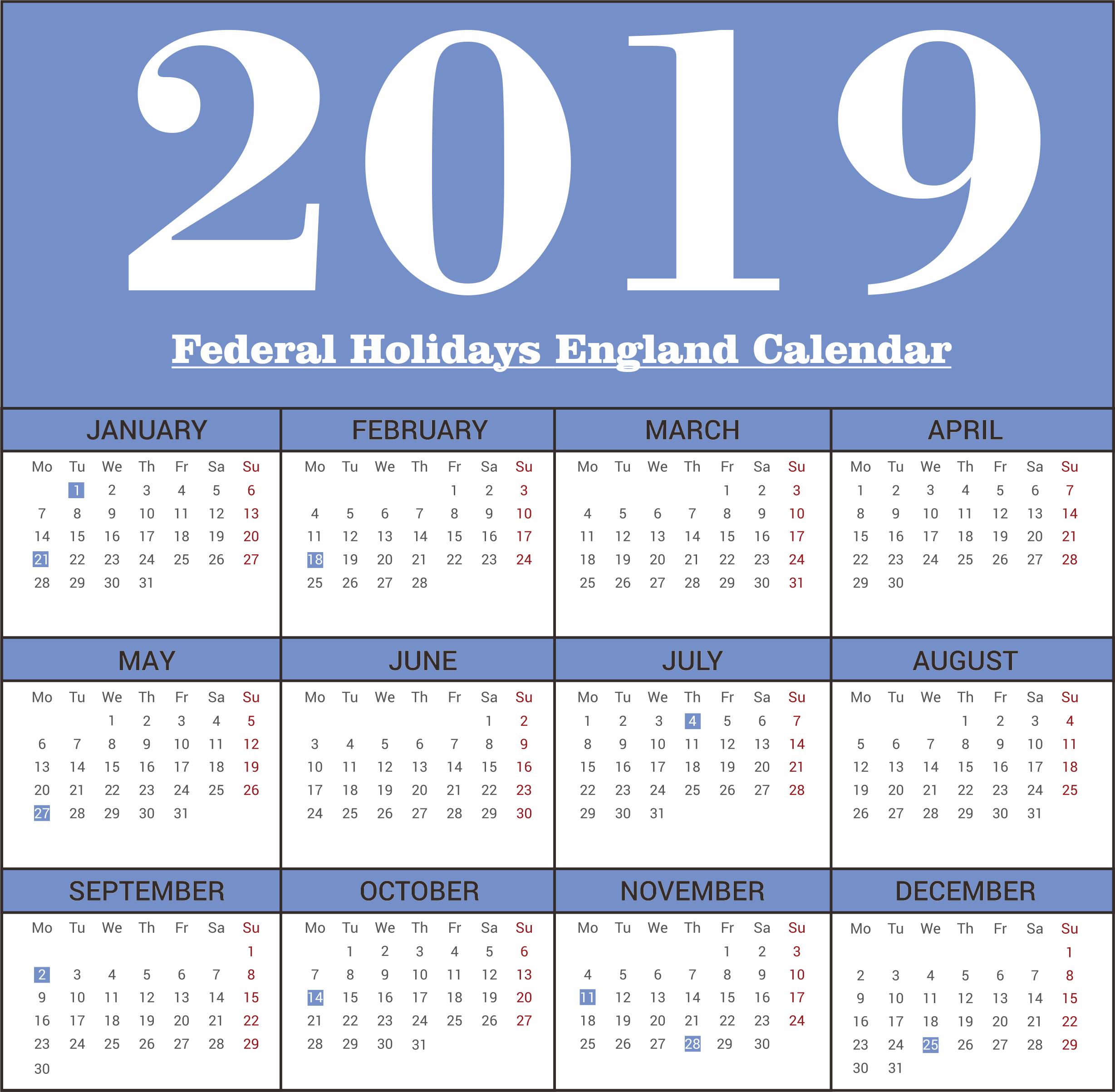 England Federal 2019 Holidays Calendar Printable | Free Desk Calendar 2019 England