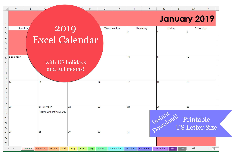 Excel 2019 Calendar Printable | Printable 2019 Excel Calendar Template |  2019 Excel Calendar | Us Letter Size | Printable Excel Template Calendar 2019 Excel Pakistan