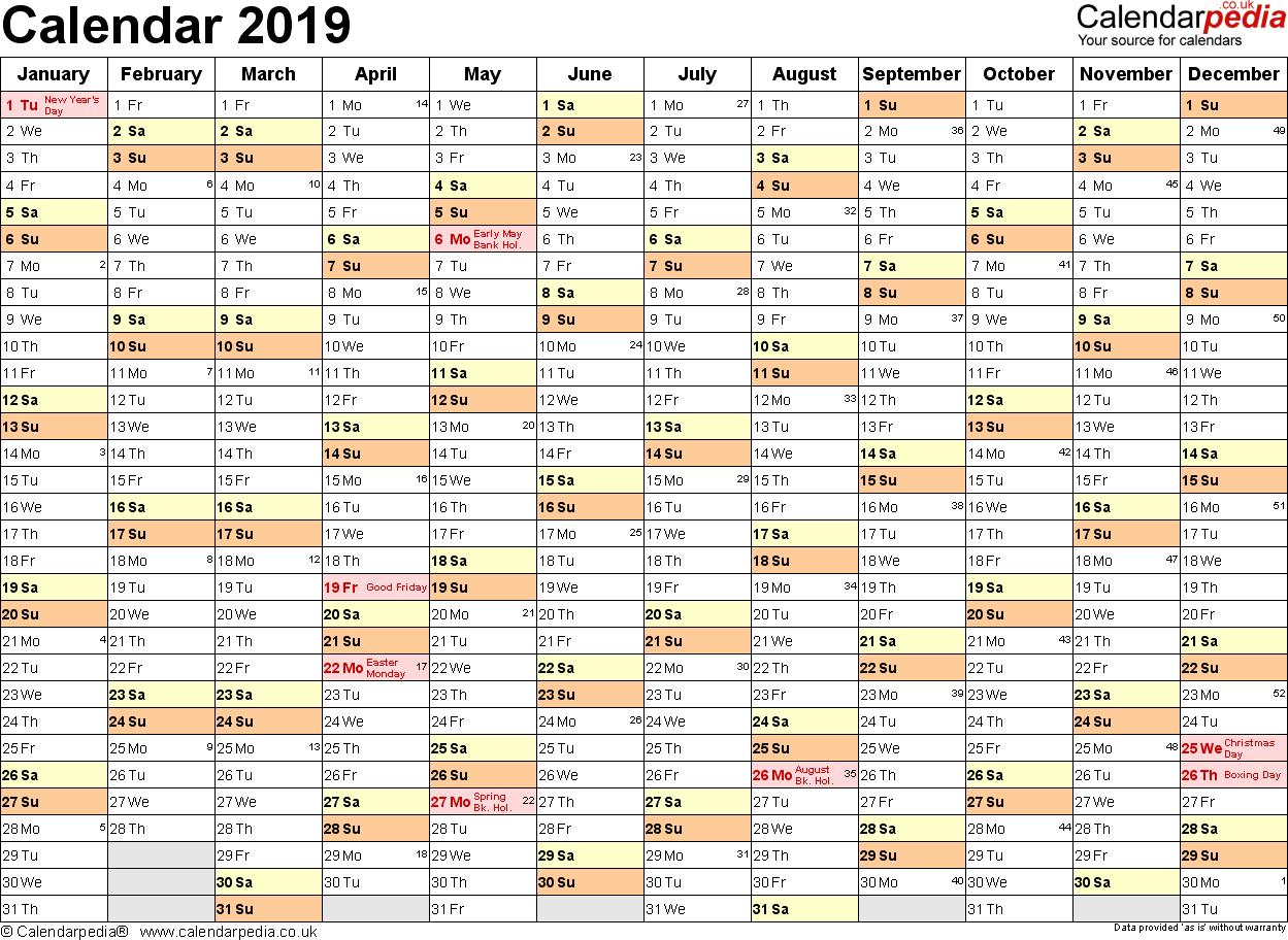 Excel Calendar 2019 (Uk): 16 Printable Templates (Xlsx, Free) Calendar 2019 Spreadsheet