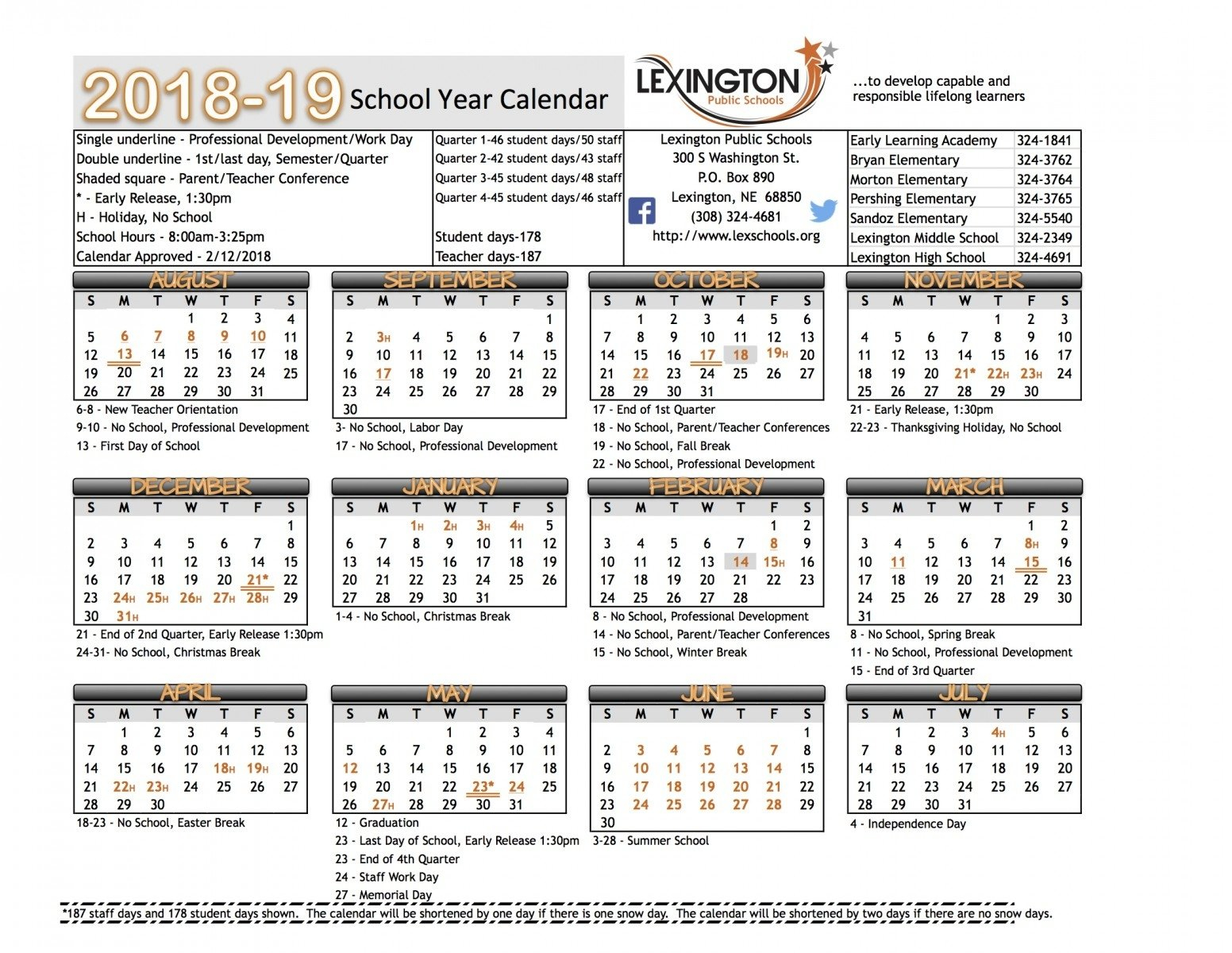Exceptional Lexington 1 School Calendar • Printable Blank Calendar Lexington 1 Calendar 2019