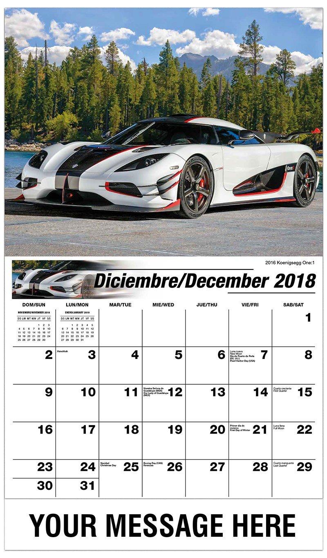 Exotic Cars - 2019 Promotional Calendar (Spanish-English Bilingual) Cars 3 Calendar 2019