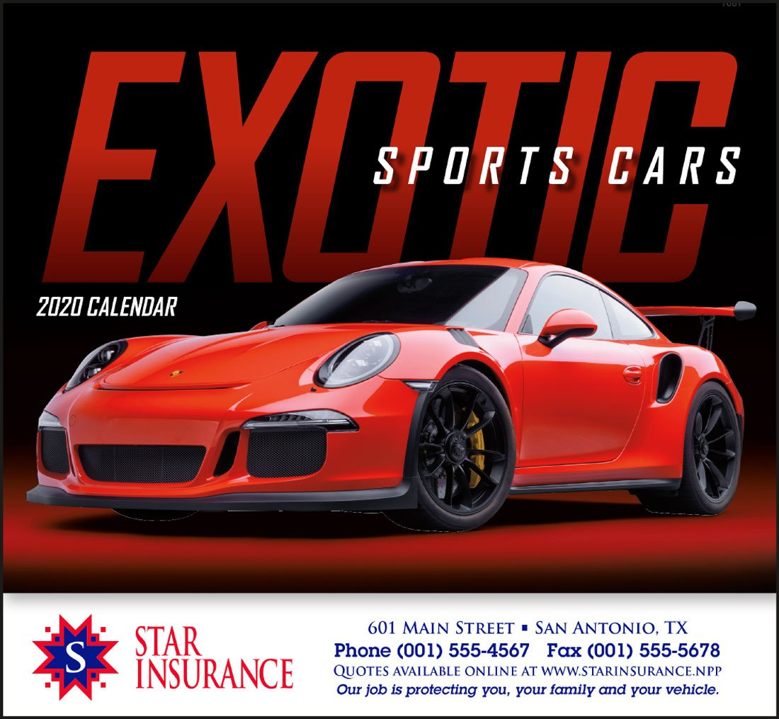 Exotic Sports Cars Promotional Calendar Stapled Calendar 2019 Cars