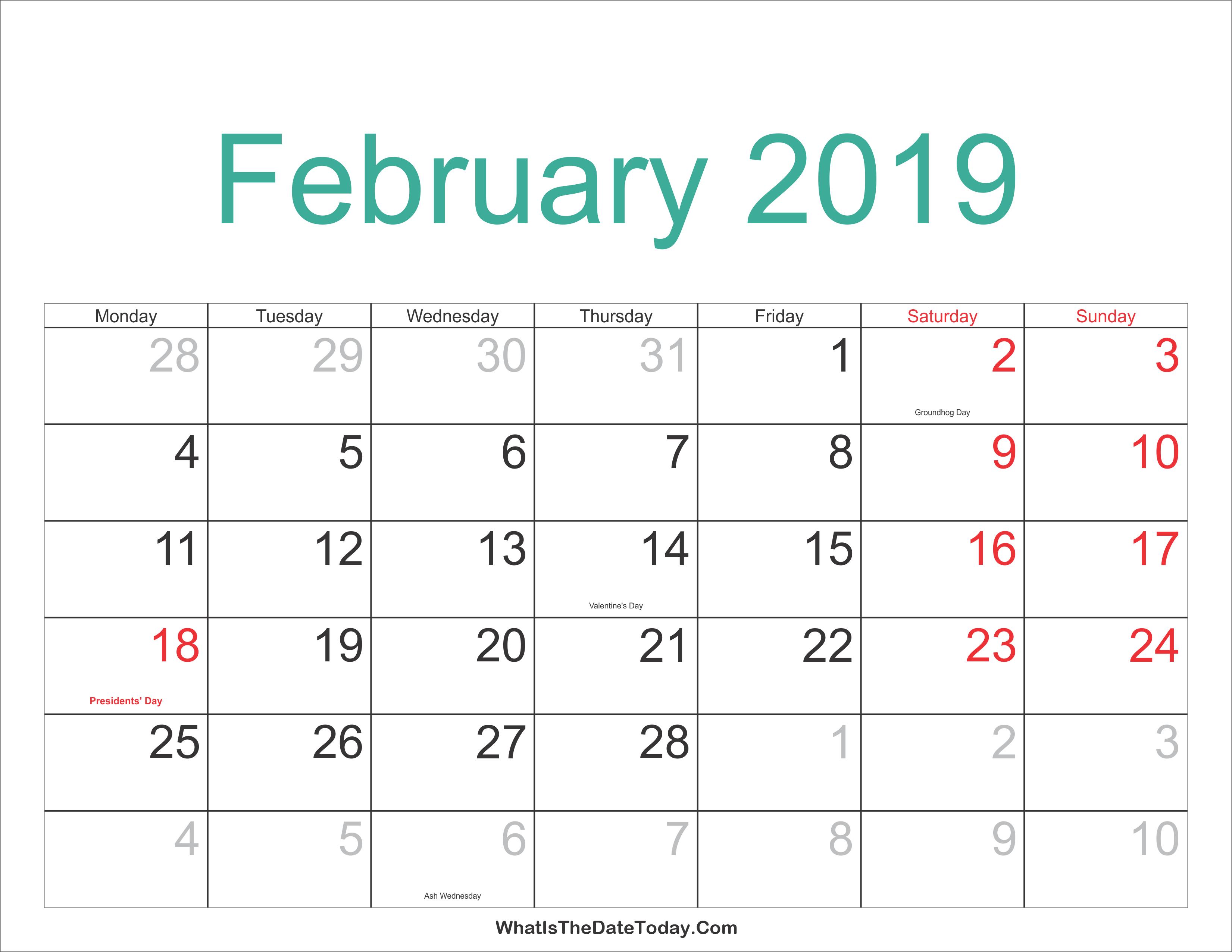 Feb 2019 Calendar Holidays - Free Printable Calendar Templates Blank Feb 7 2019 Calendar
