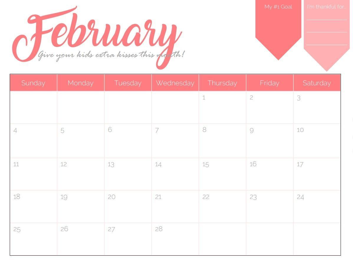 February 2018 Goal Planner Calendar | Maxcalendars | February Calendar 2019 Goals