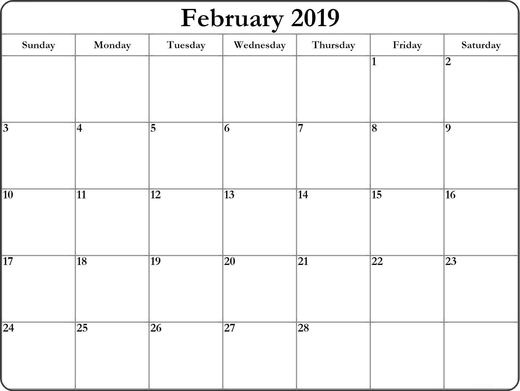 February 2019 Blank Editable Calendar - Free Printable Calendar Calendar 2019 Blank