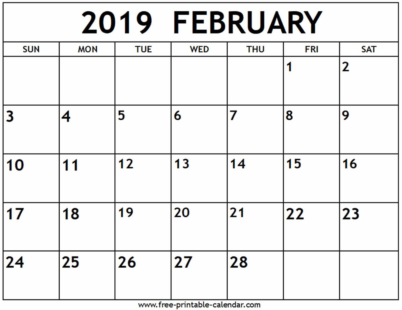February 2019 Calendar - Free-Printable-Calendar Calendar Of 2019 February