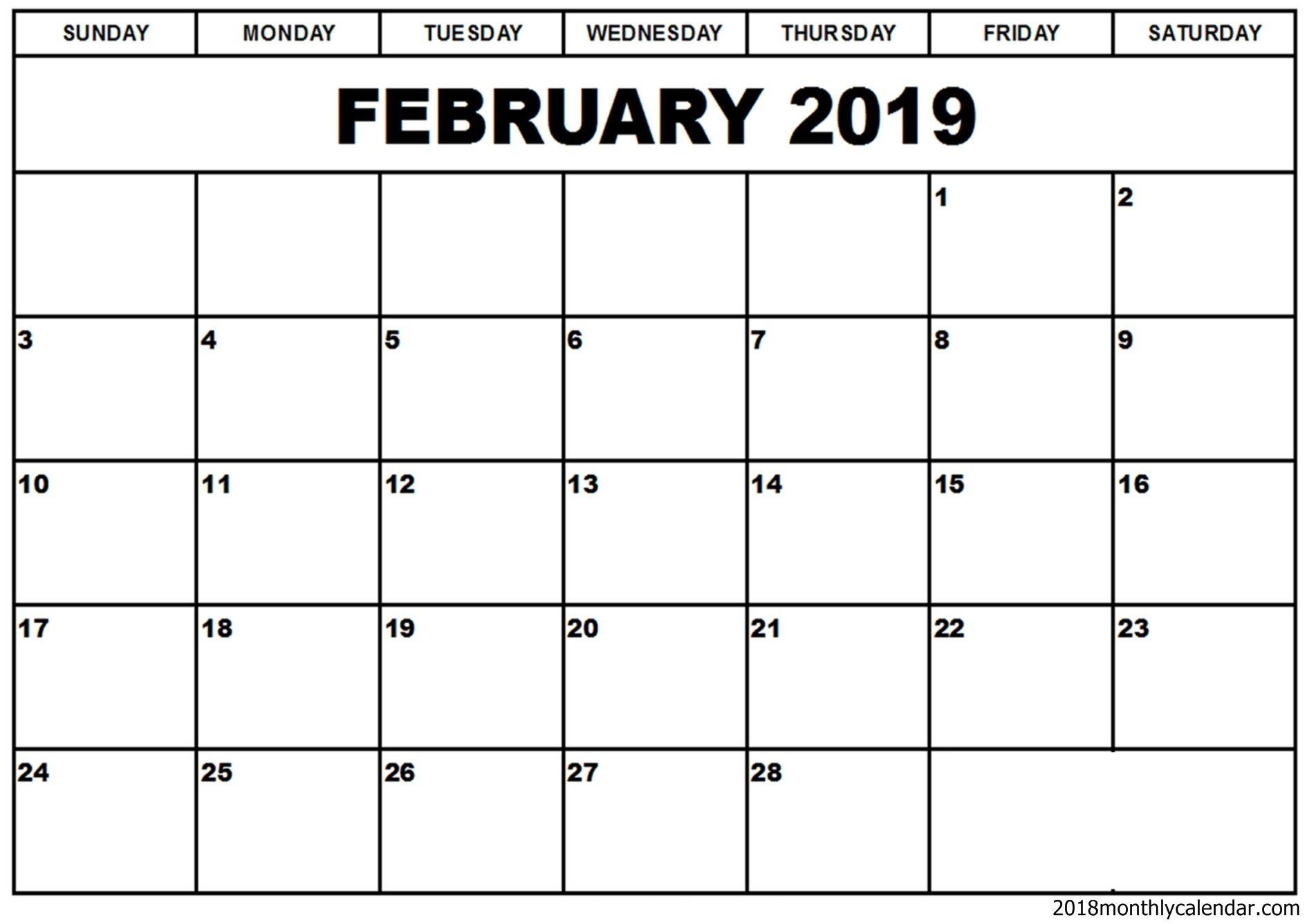 February 2019 Calendar Word Template | Free Printable Monthly Calendar 2019 Template Word