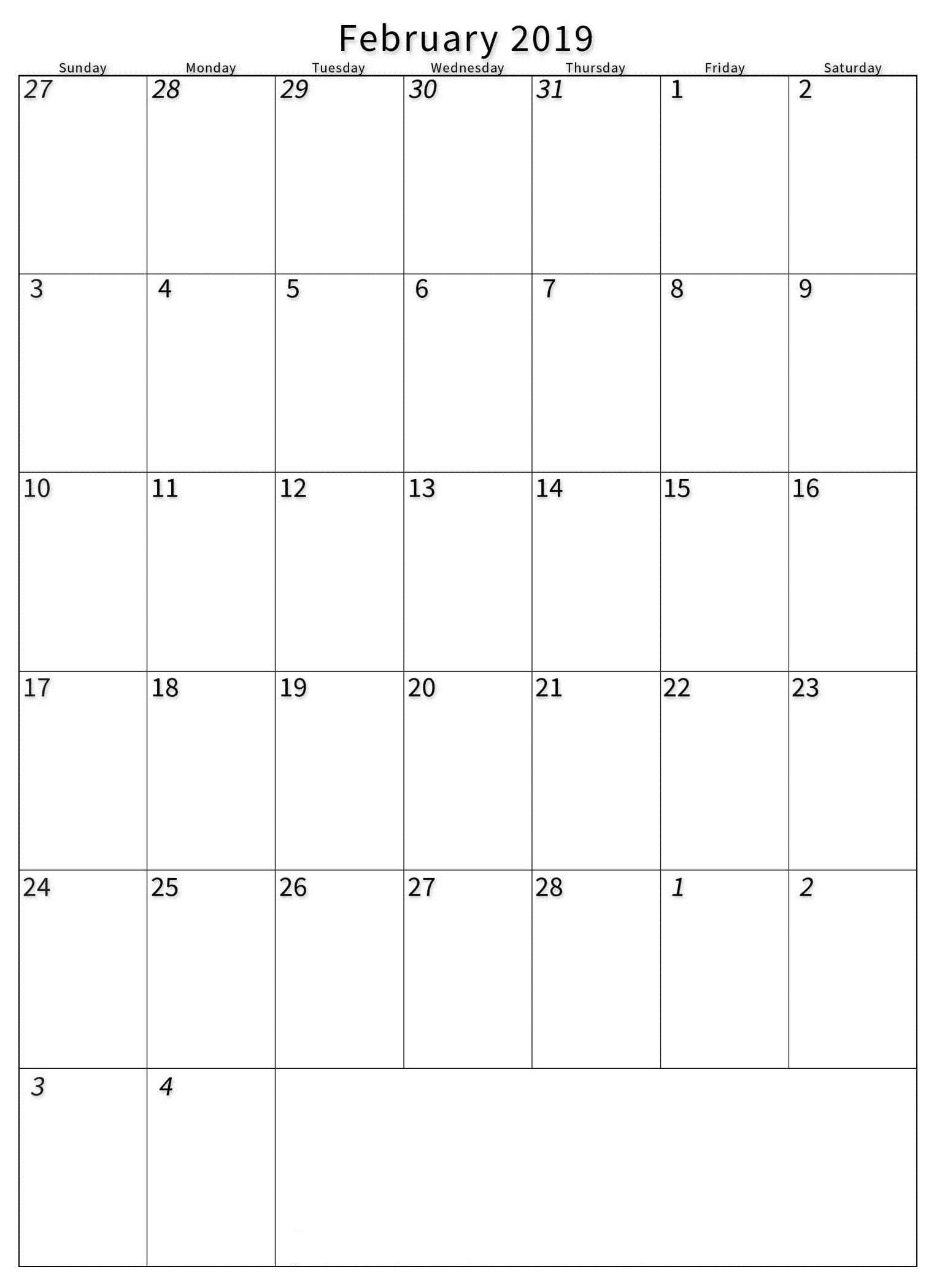 February 2019 Portrait Calendar Template - Printable Calendar Templates Calendar 2019 Portrait