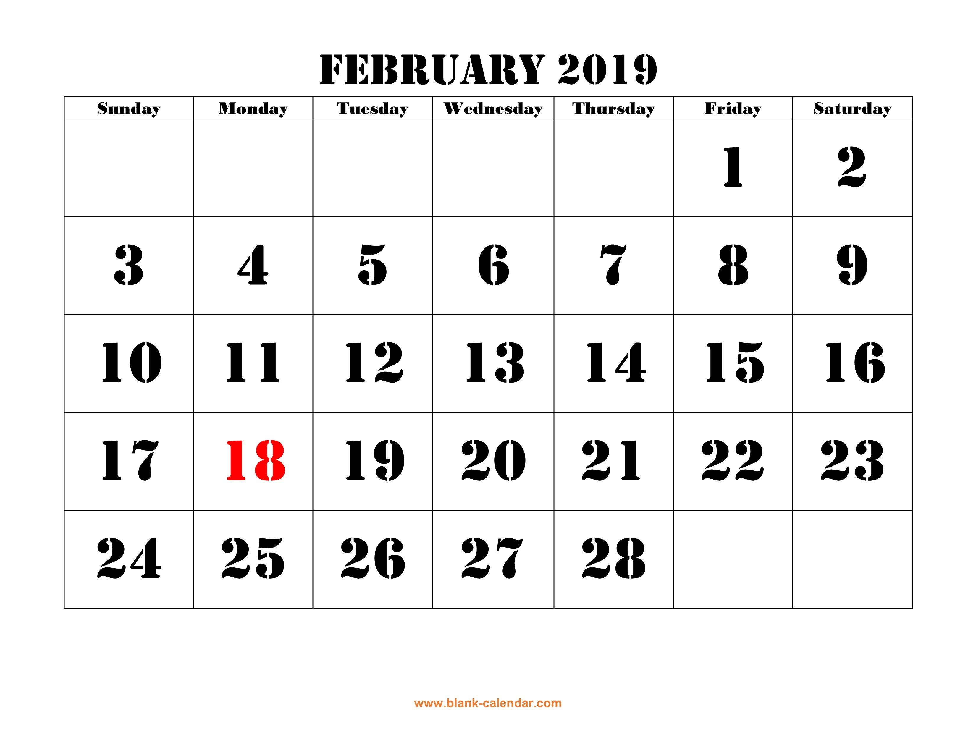 February 2019 Printable Calendar | Free Download Monthly Calendar Calendar 2019 Large Printable