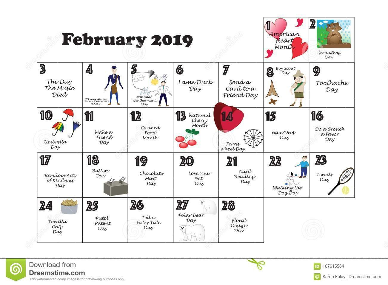 February Quirky Holidays And Unusual Events 2019 Stock Illustration Calendar 2019 Events And Holidays