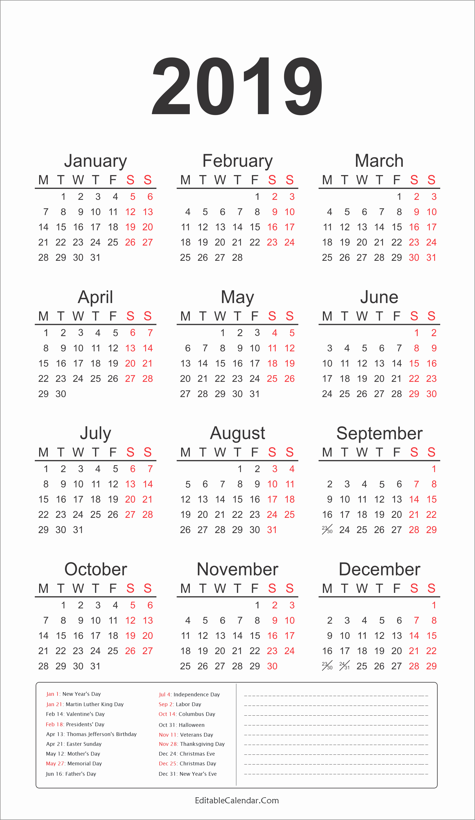 Federal Holidays Printable Calendars 2019 2019 Calendar Template Calendar 2019 Federal Holidays