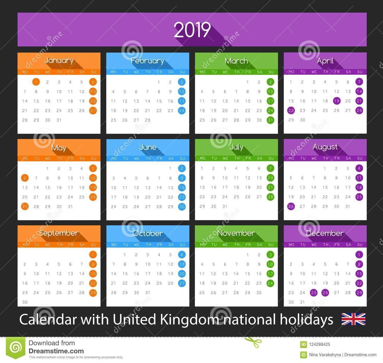 Flat 2019 Calendar Design With United Kingdom National Holidays Calendar 2019 Scotland