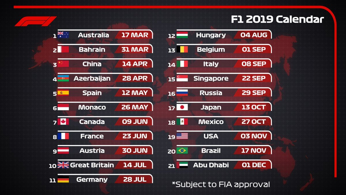 "Formula 1 On Twitter: ""2019 Draft #f1 Calendar 🗓 21 Races 9 Formula 1 Calendar 2019 Dates"