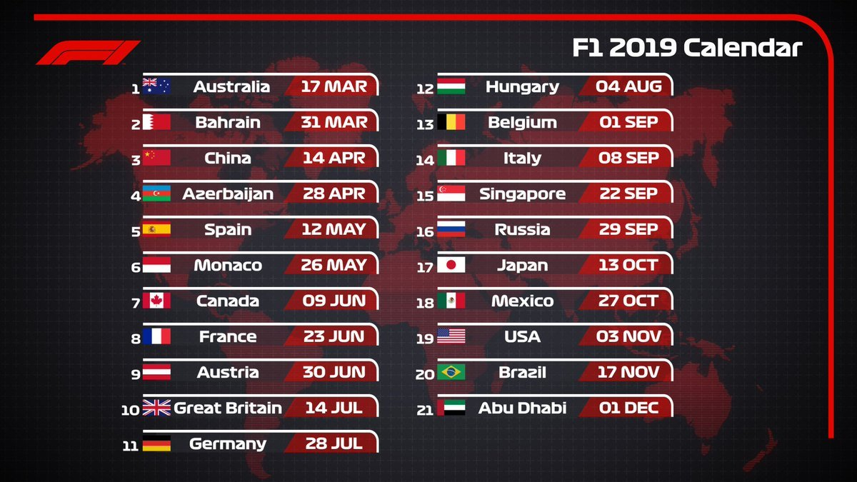 "Formula 1 On Twitter: ""icymi: Race Calendar 2019 21 Races 🌎 Race Formula 1 Calendar 2019 Tickets"